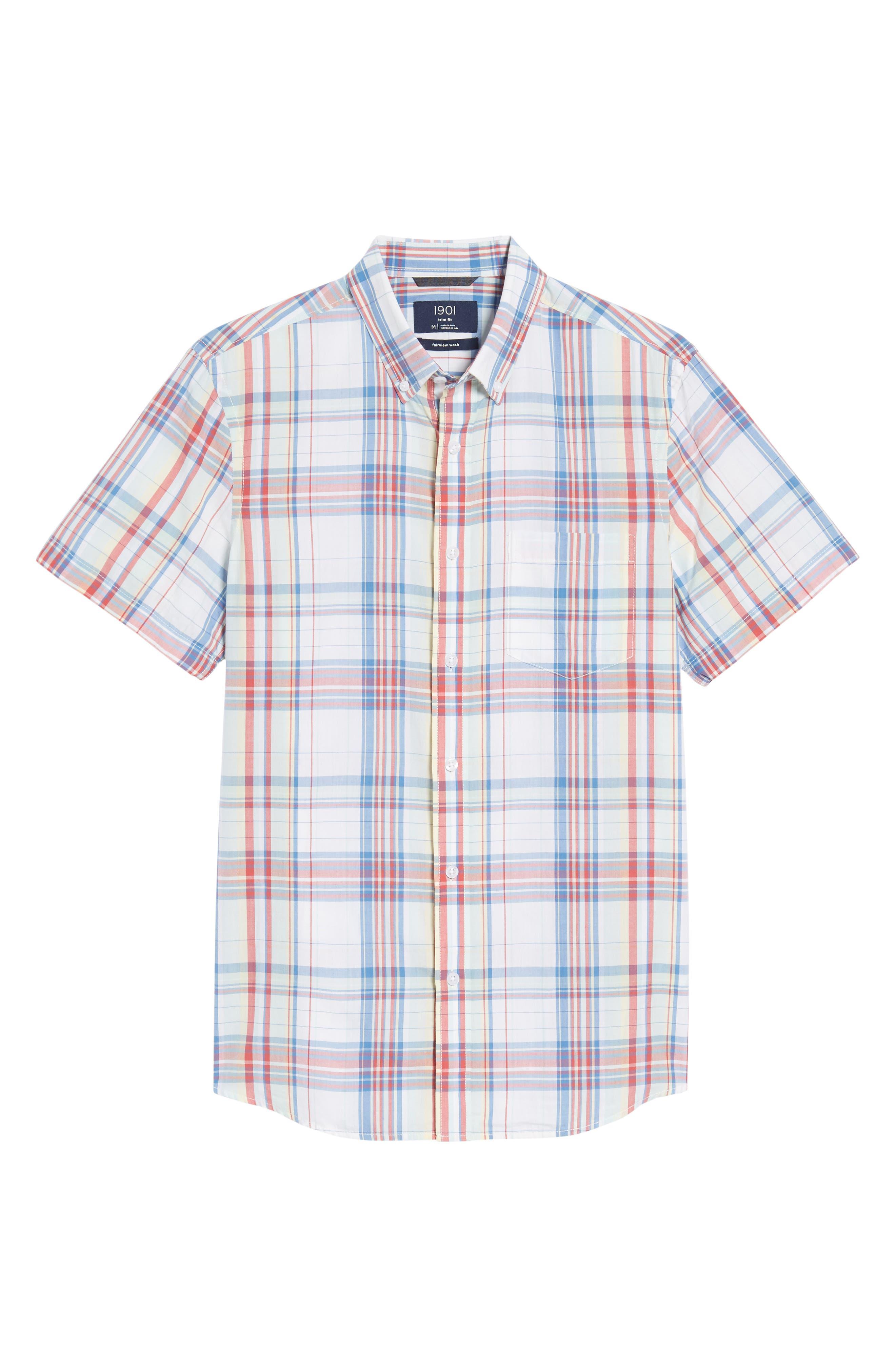 Trim Fit Plaid Short Sleeve Sport Shirt,                             Alternate thumbnail 6, color,                             White Red Multi Plaid