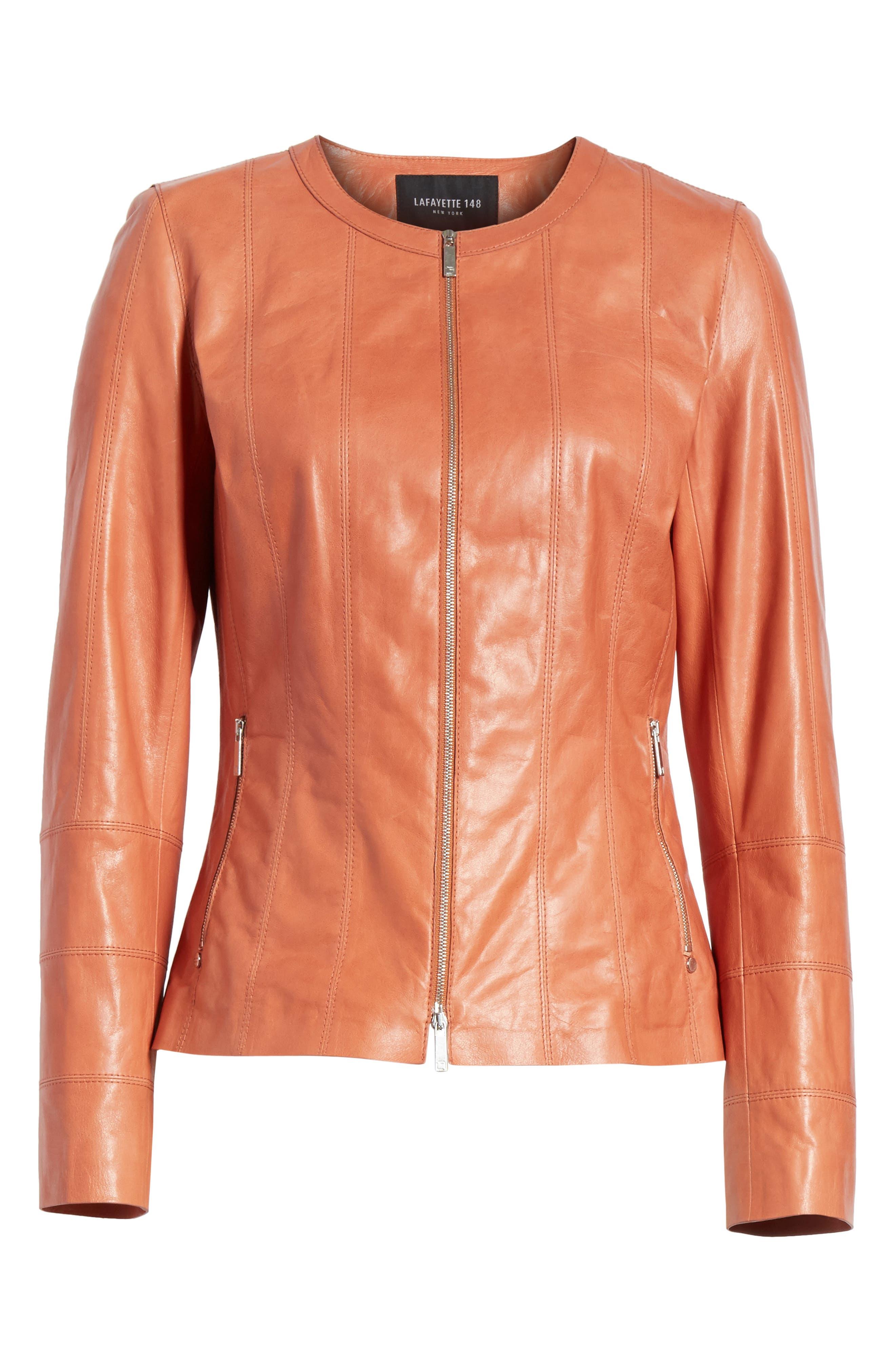 Courtney Glazed Lambskin Leather Jacket,                             Alternate thumbnail 7, color,                             Adobe