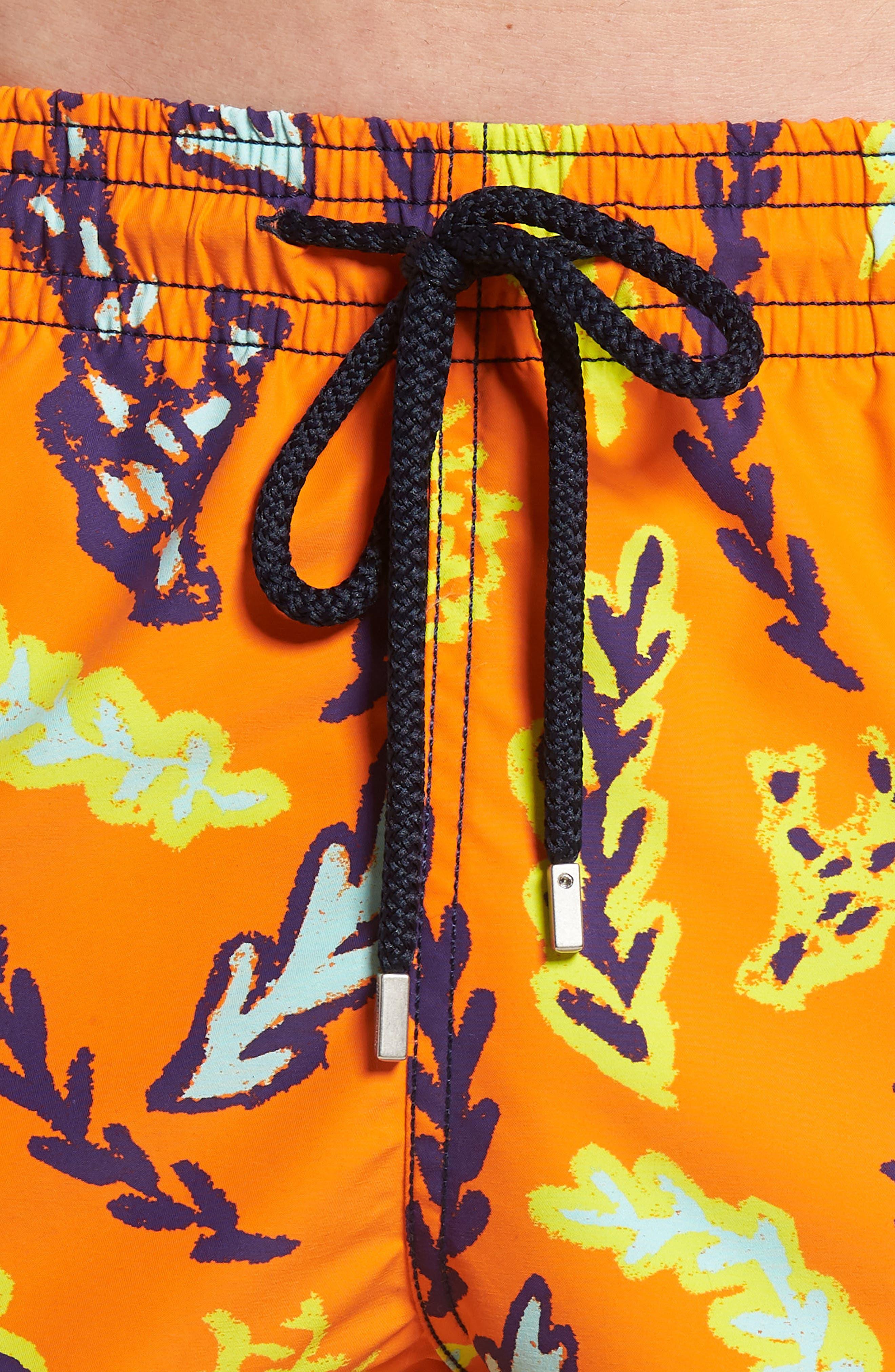 Solar Seaweed Print Swim Trunks,                             Alternate thumbnail 5, color,                             Papaya