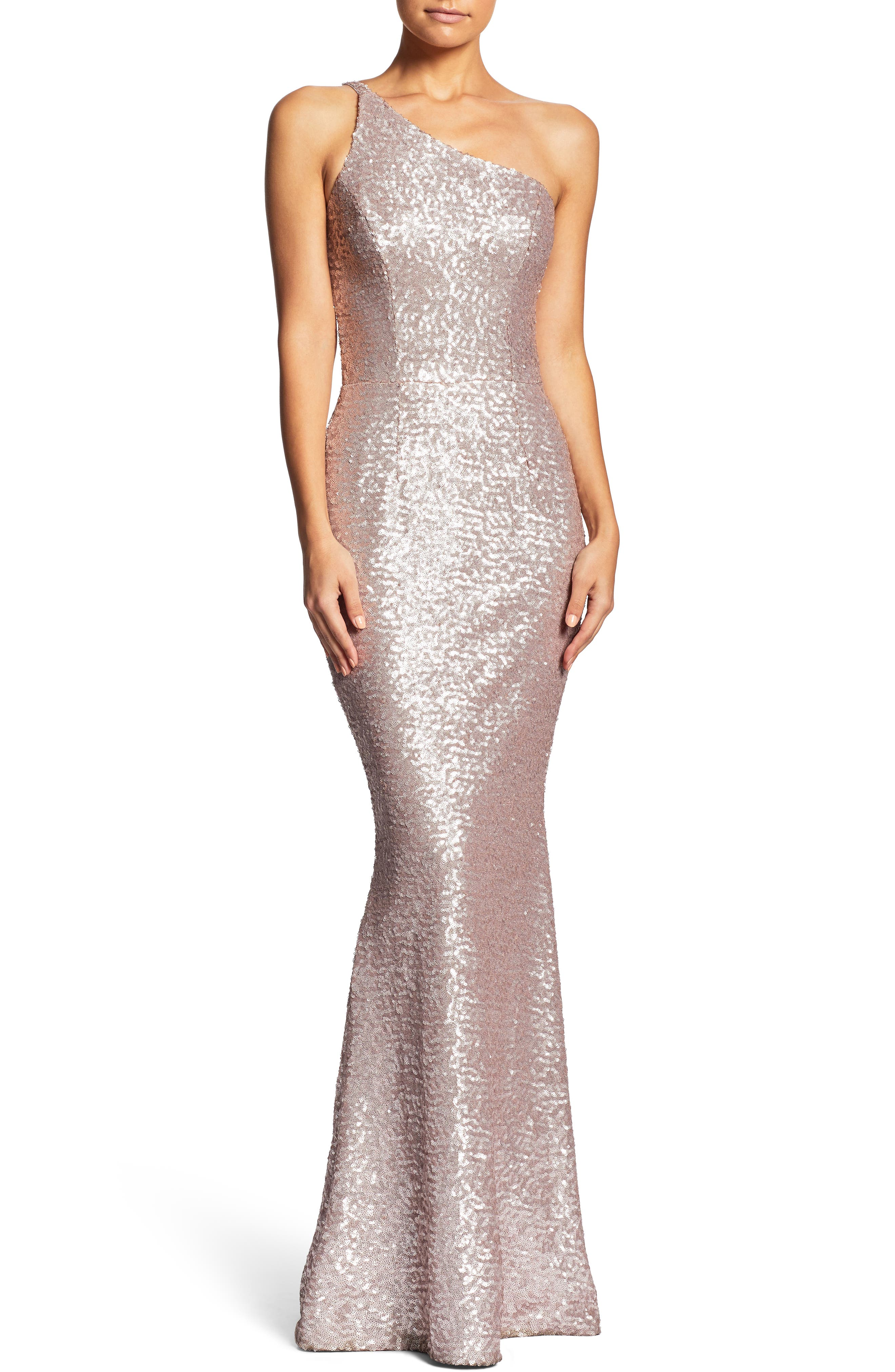 Bella One-Shoulder Mermaid Gown,                         Main,                         color, Ice Pink
