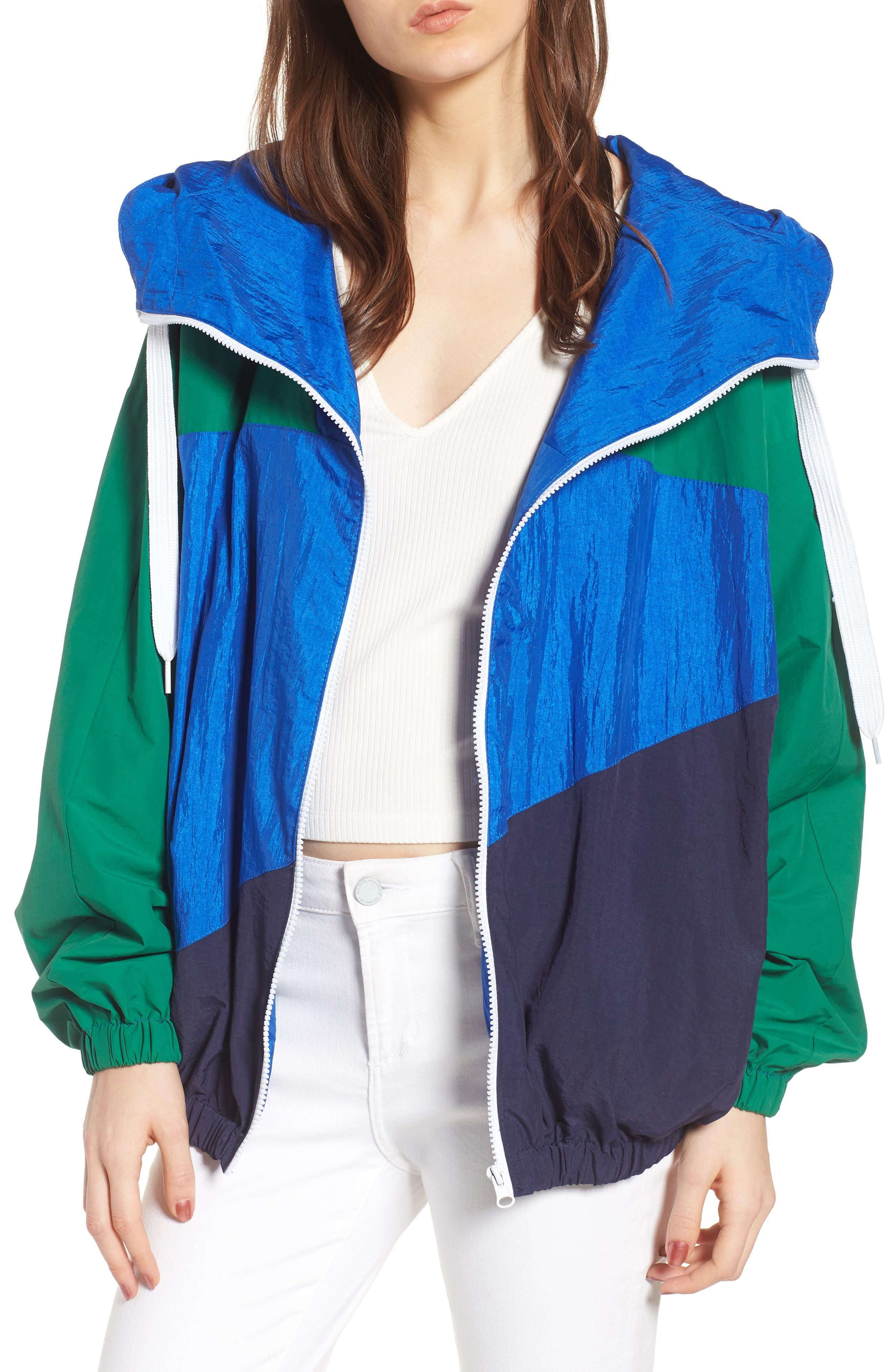 Colorblock Windbreaker Jacket,                         Main,                         color, Green/ Blue