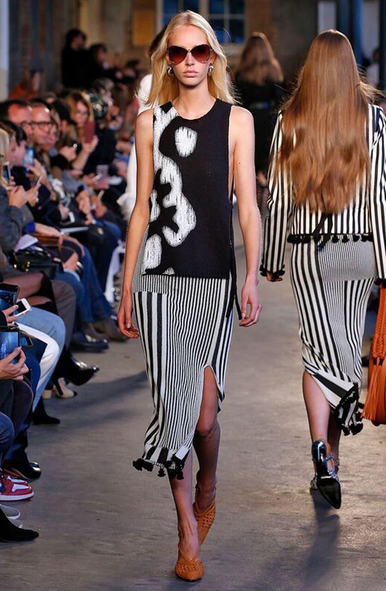 Tassel Trim Stripe Pencil Skirt,                             Alternate thumbnail 2, color,                             Black
