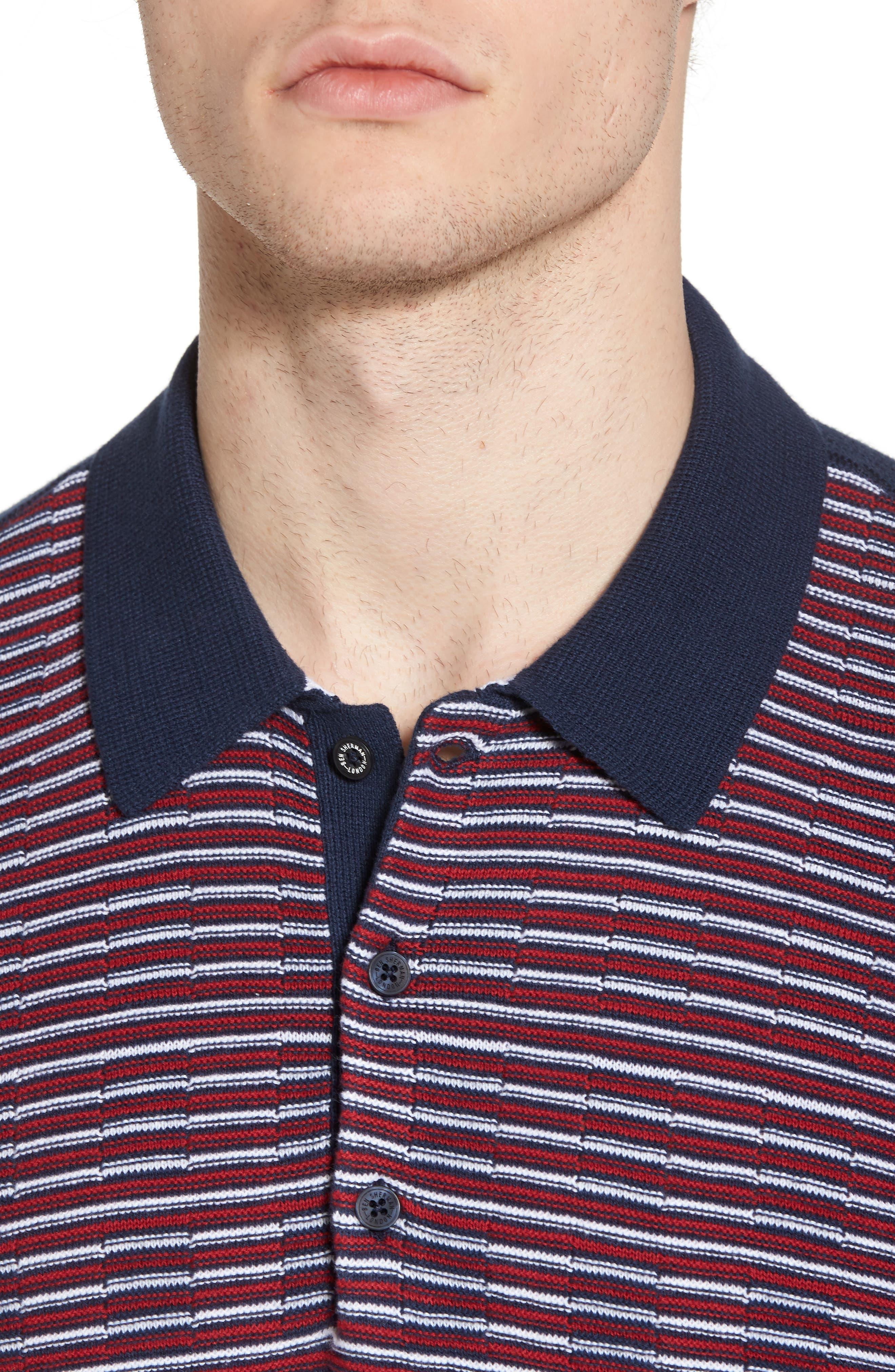 Mixed Stripe Polo,                             Alternate thumbnail 4, color,                             Dark Blue