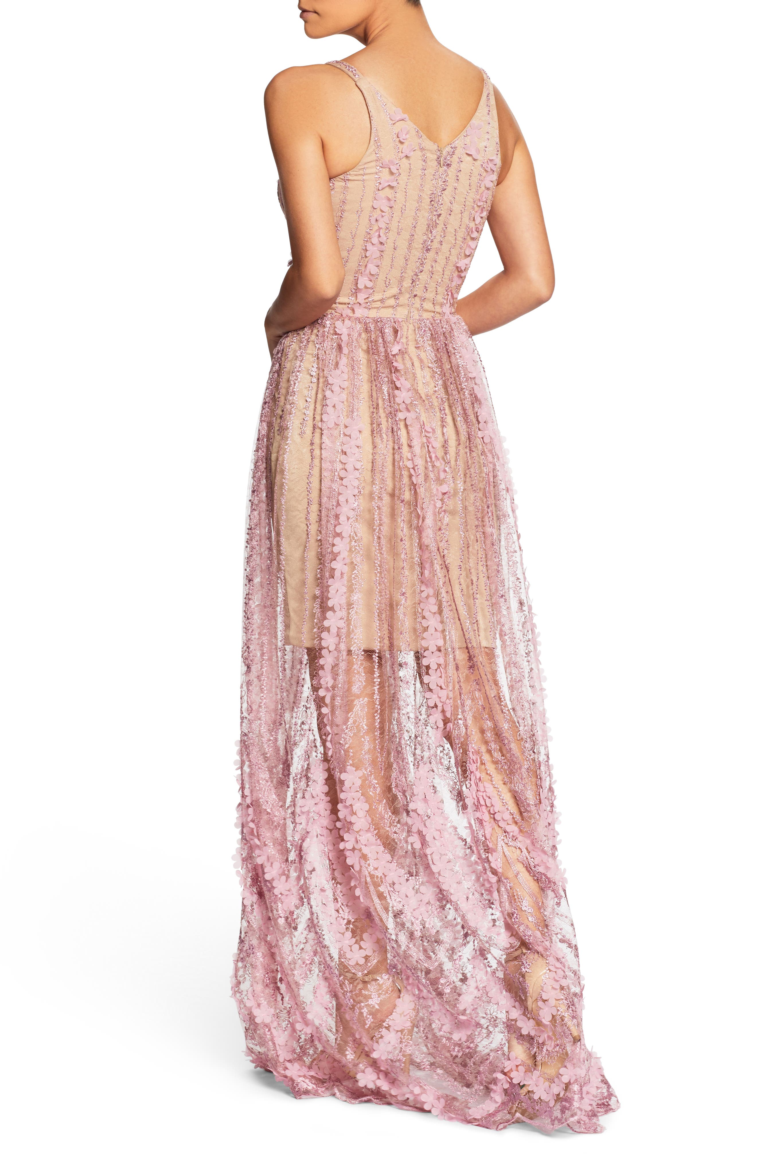 Chelsea Lace A-Line Gown,                             Alternate thumbnail 2, color,                             Lilac/ Nude