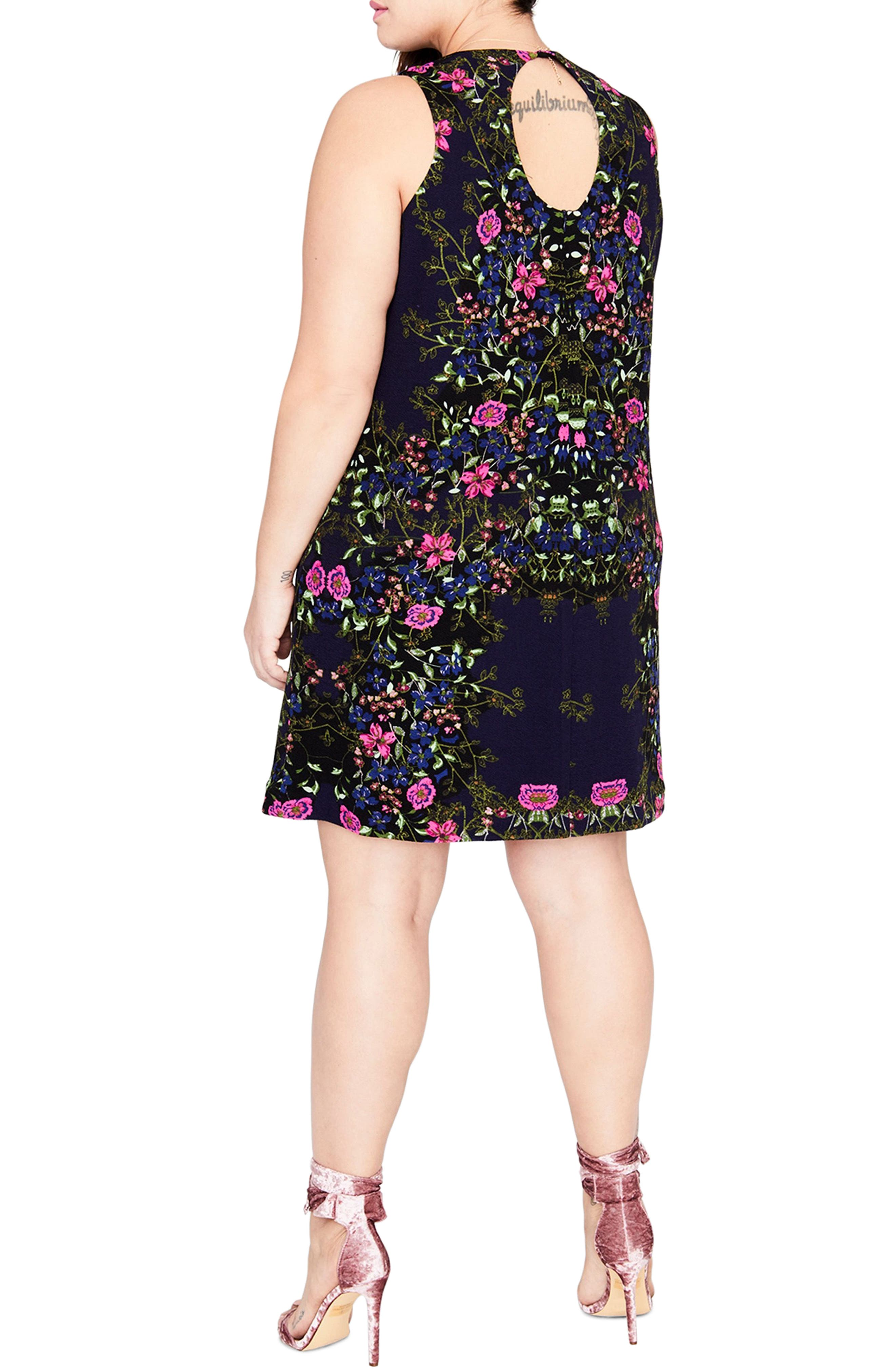 Floral A-Line Dress,                             Alternate thumbnail 2, color,                             Cadet Combo