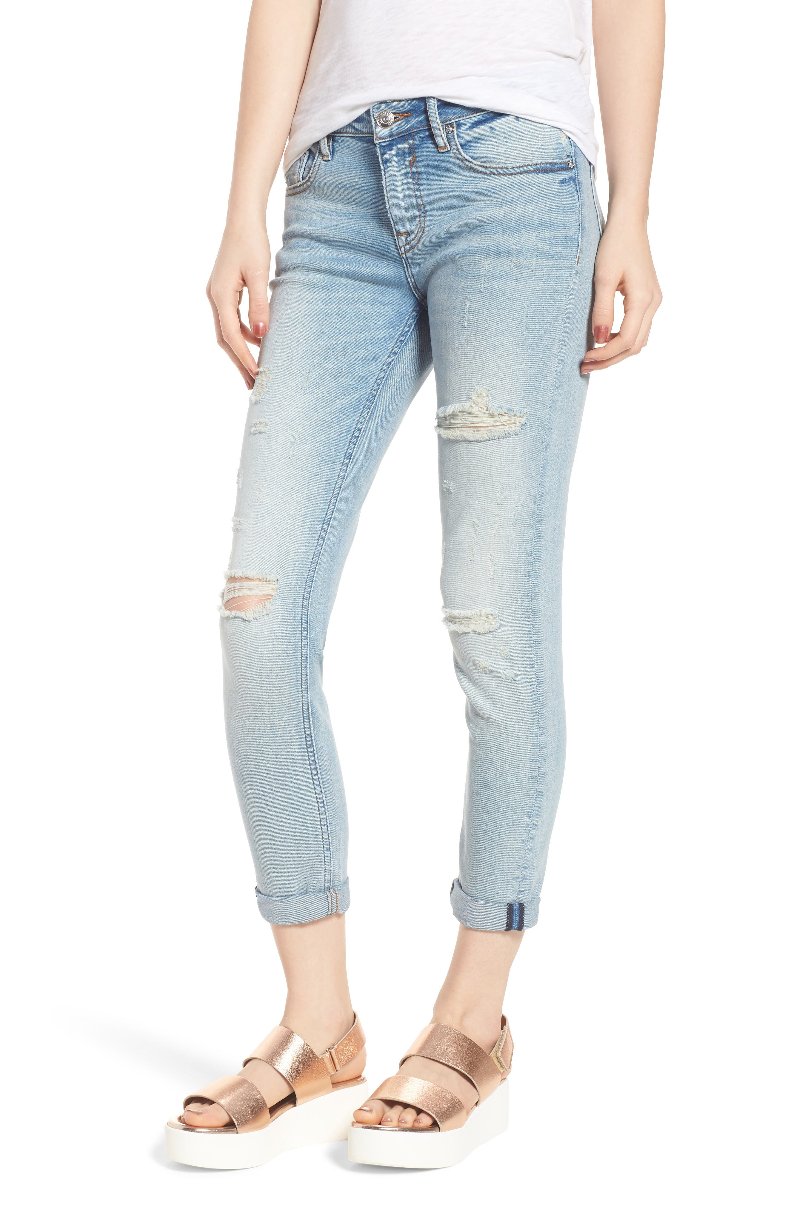 Thompson Tomboy Distressed Skinny Jeans,                             Main thumbnail 1, color,                             Light Wash