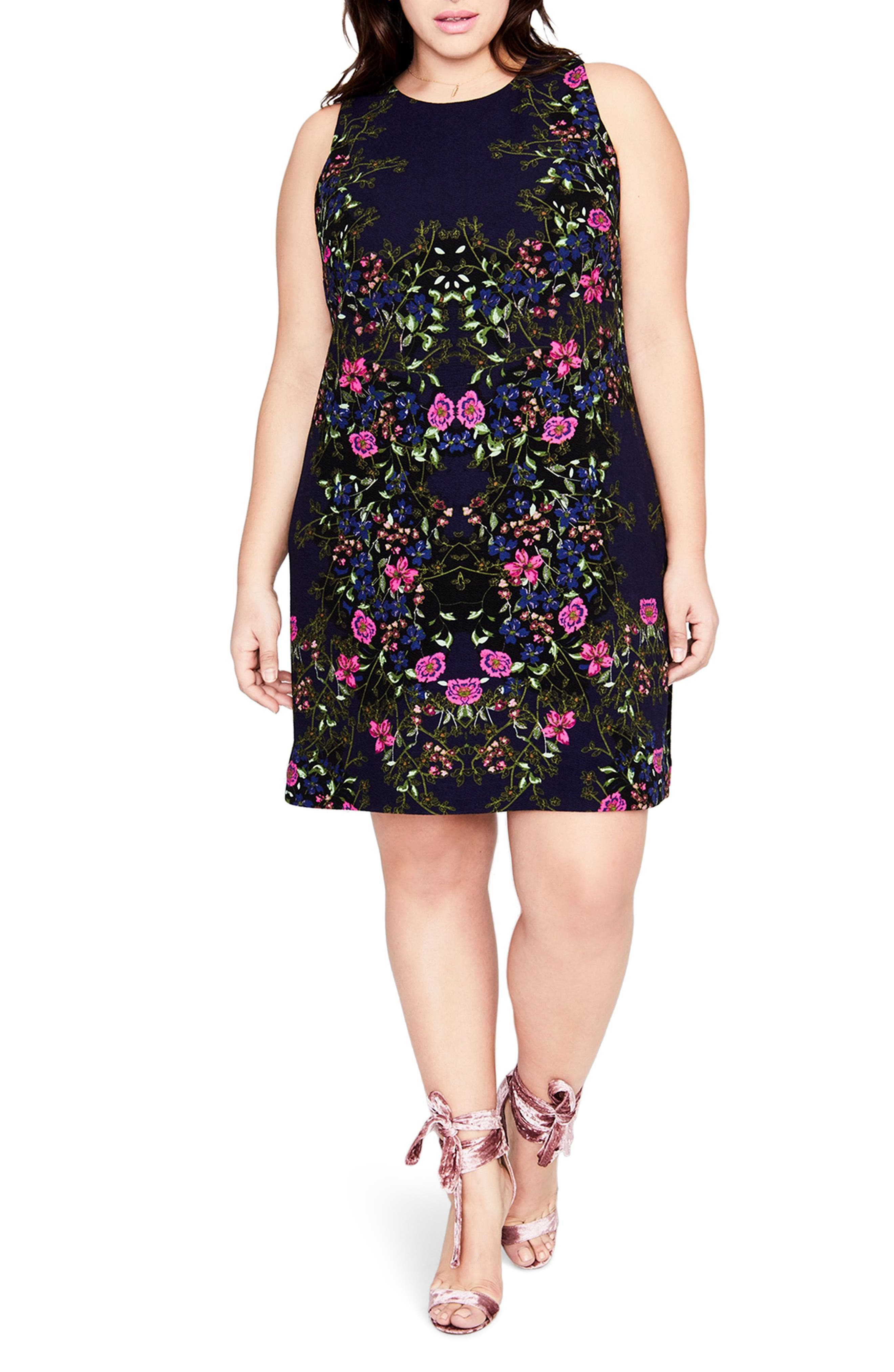 Floral A-Line Dress,                             Main thumbnail 1, color,                             Cadet Combo