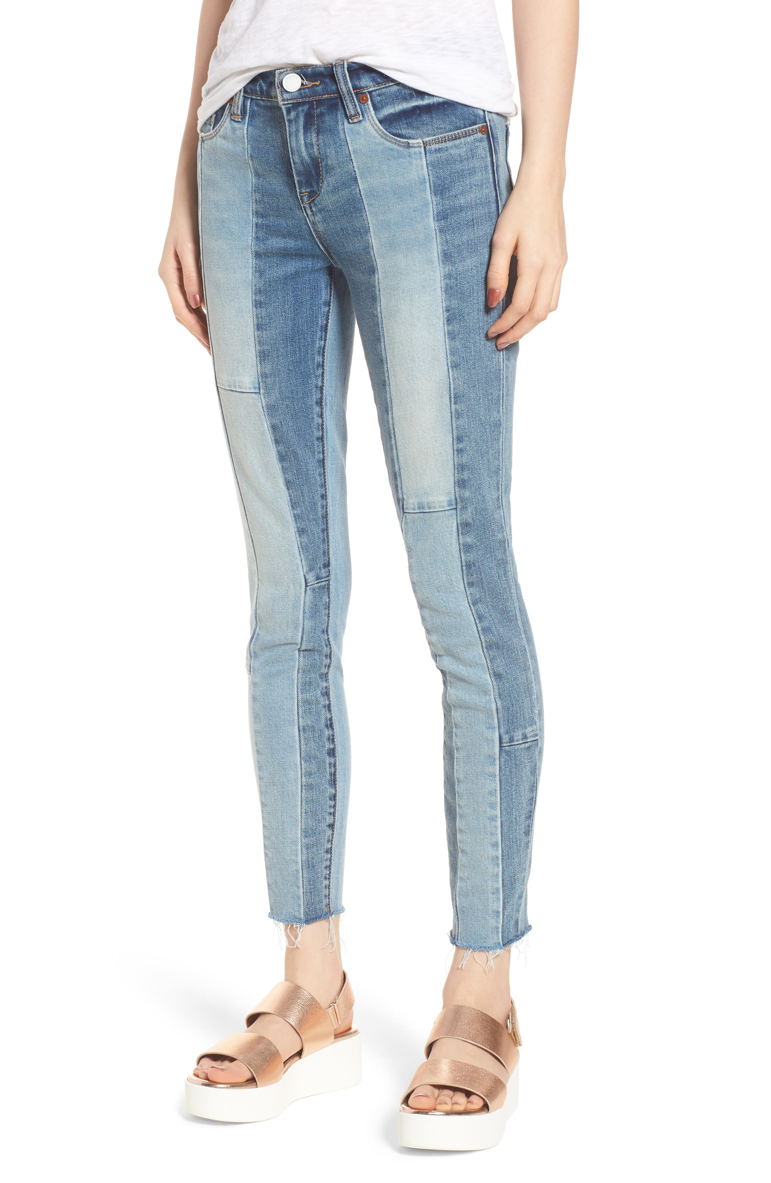 Main Image - BLANKNYC The Reade Patchwork Crop Skinny Jeans (Midtown Madness)