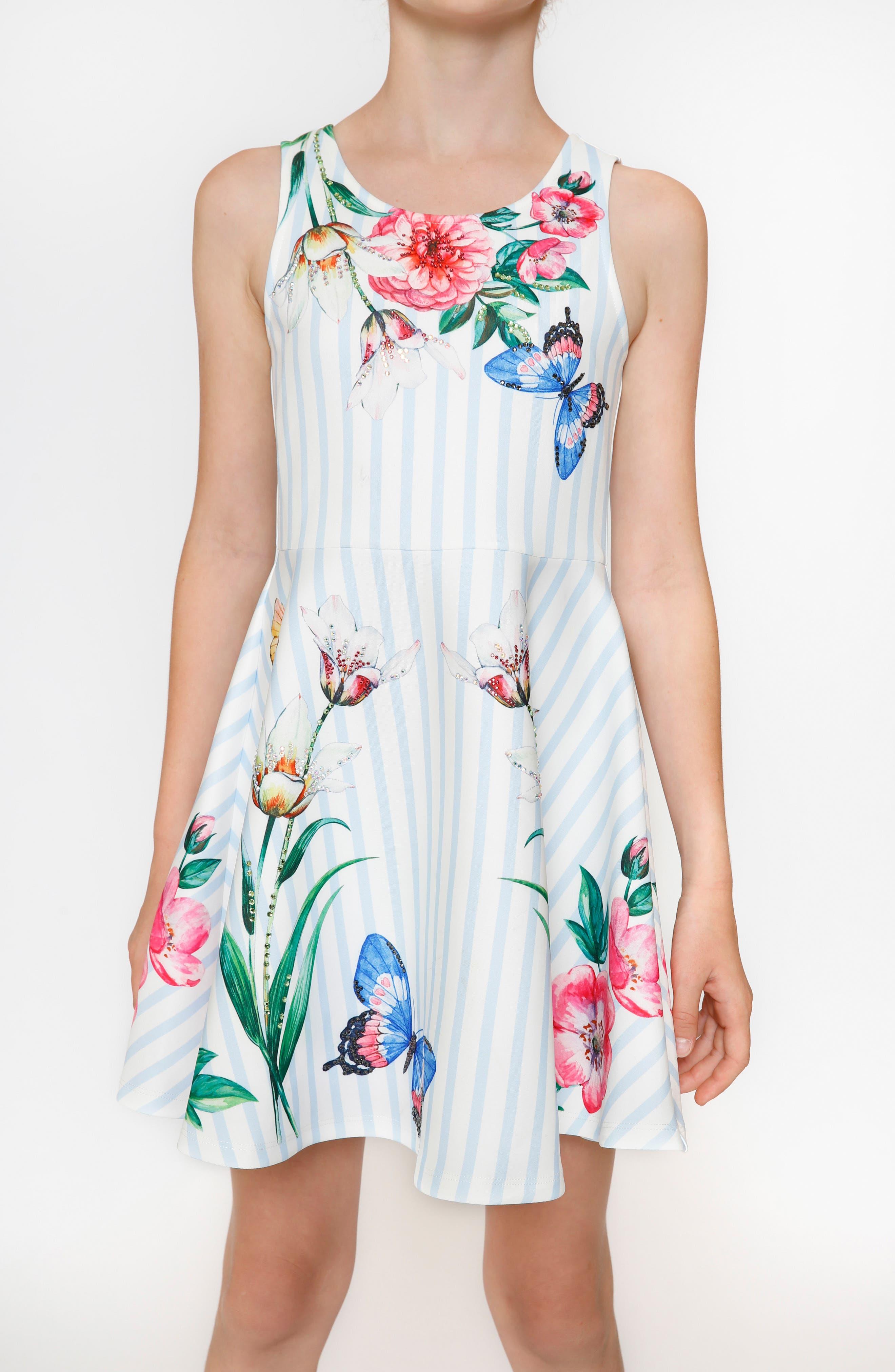 Stripe Floral Skater Dress,                             Alternate thumbnail 4, color,                             Blue/ White