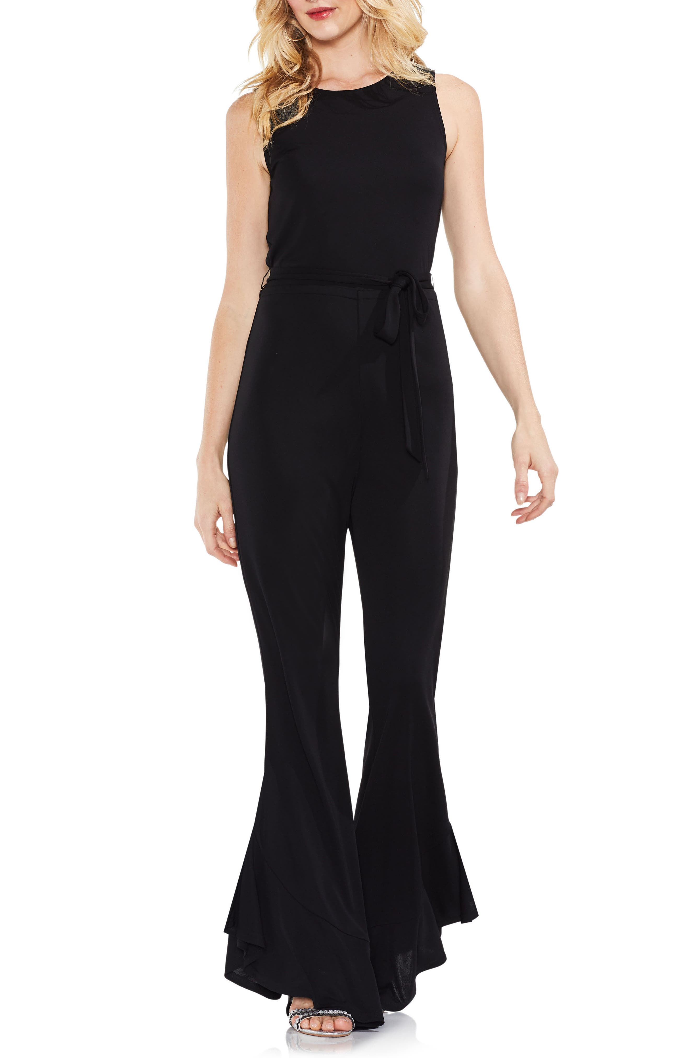 Sleeveless Belted Jumpsuit,                             Main thumbnail 1, color,                             Rich Black