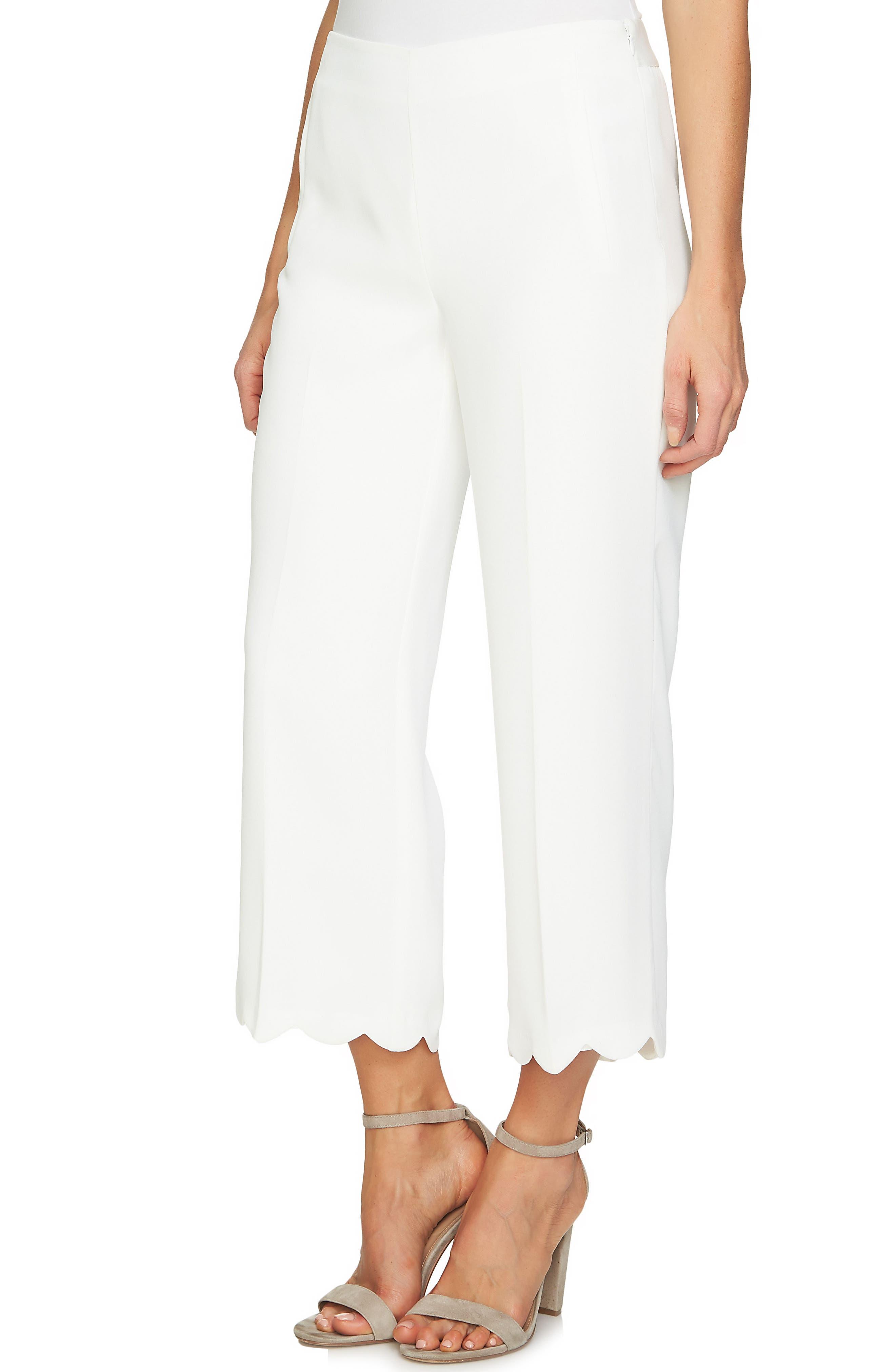 Scalloped Crepe Crop Pants,                         Main,                         color, Antique White
