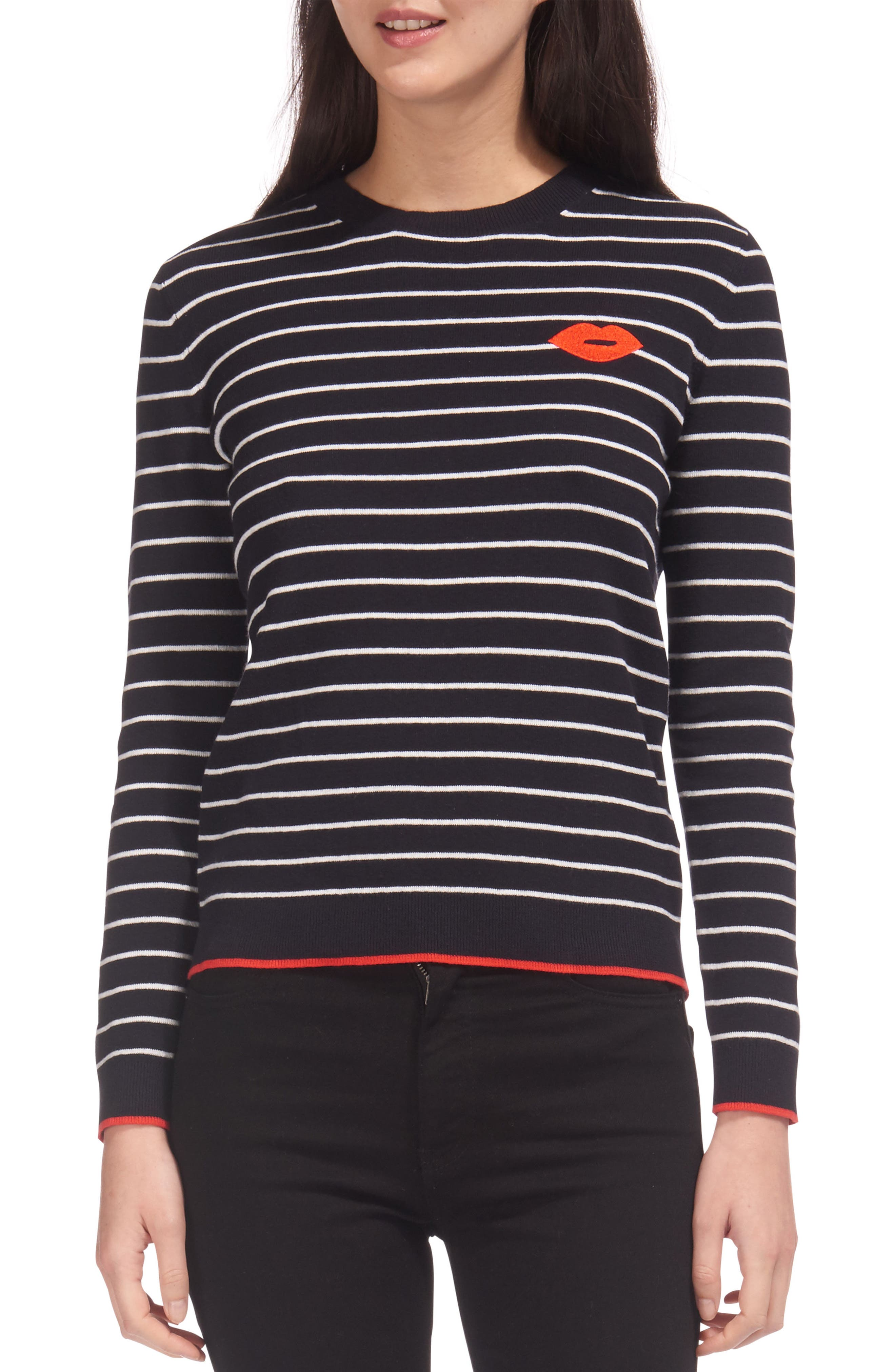 Kiss Embroidered Stripe Sweater,                             Main thumbnail 1, color,                             Multicolor