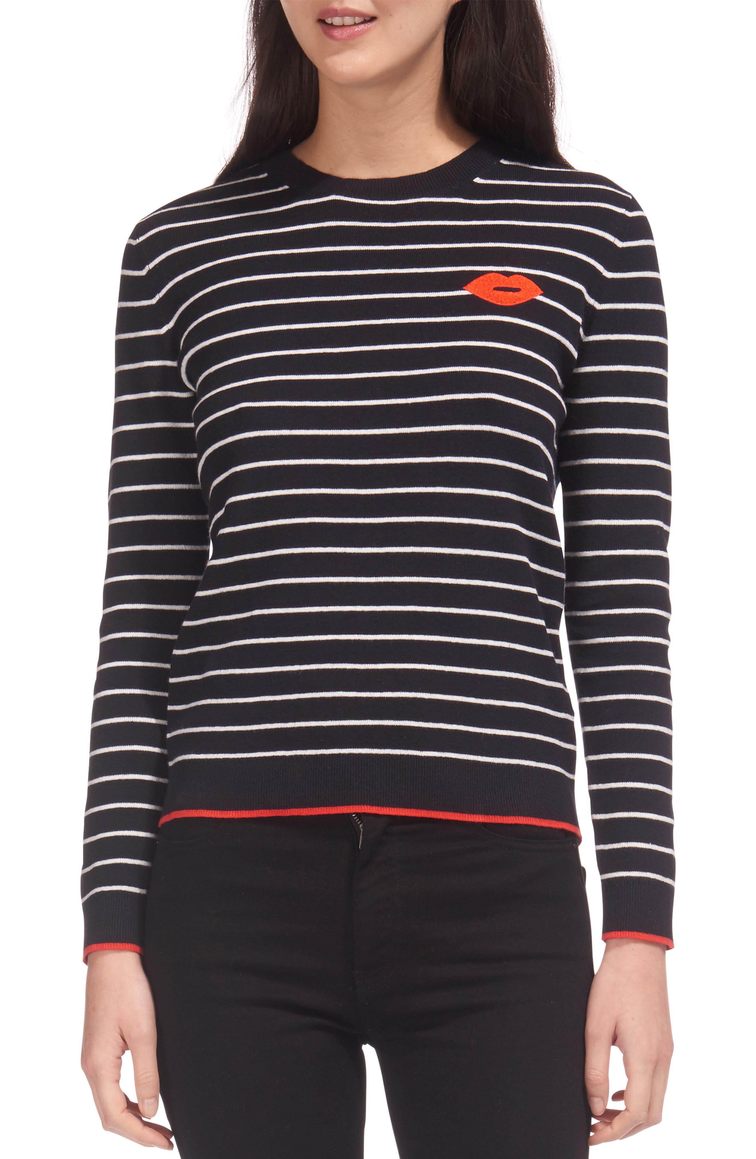Kiss Embroidered Stripe Sweater,                         Main,                         color, Multicolor