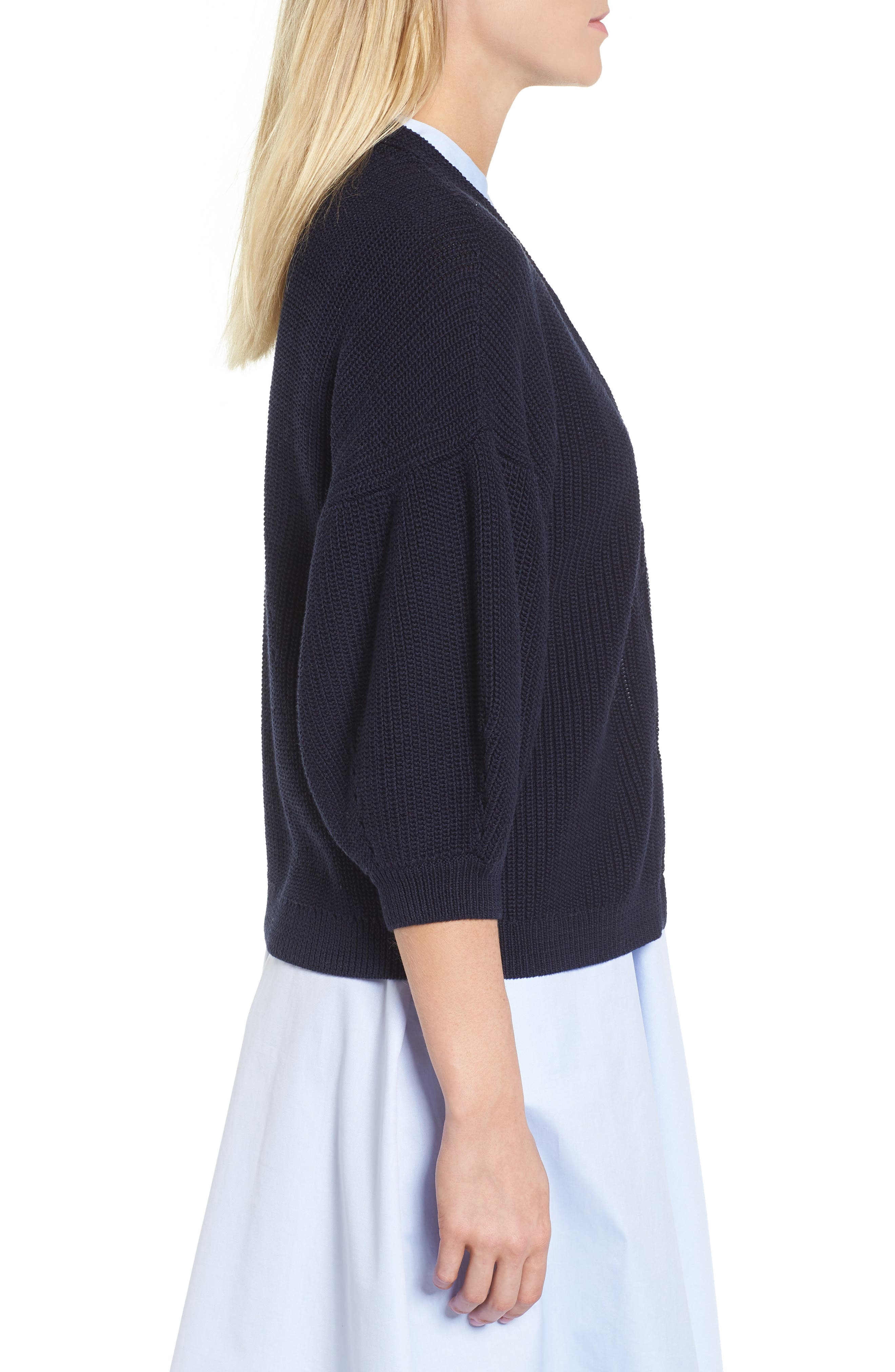 V-Neck Cotton Cardigan,                             Alternate thumbnail 3, color,                             Navy Night