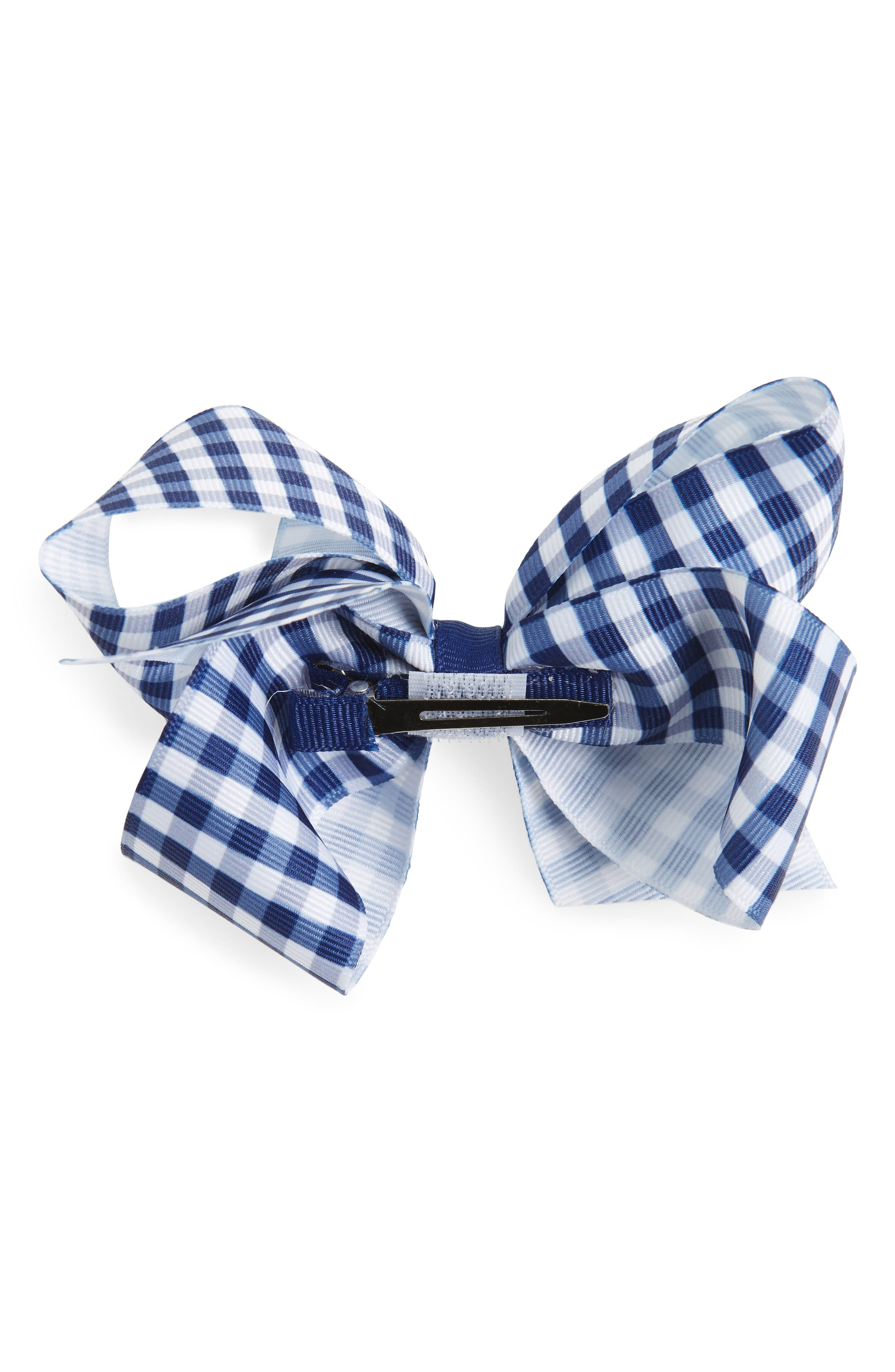 Alternate Image 2  - PLH Bows & Laces Gingham Bow Clip (Baby Girls)