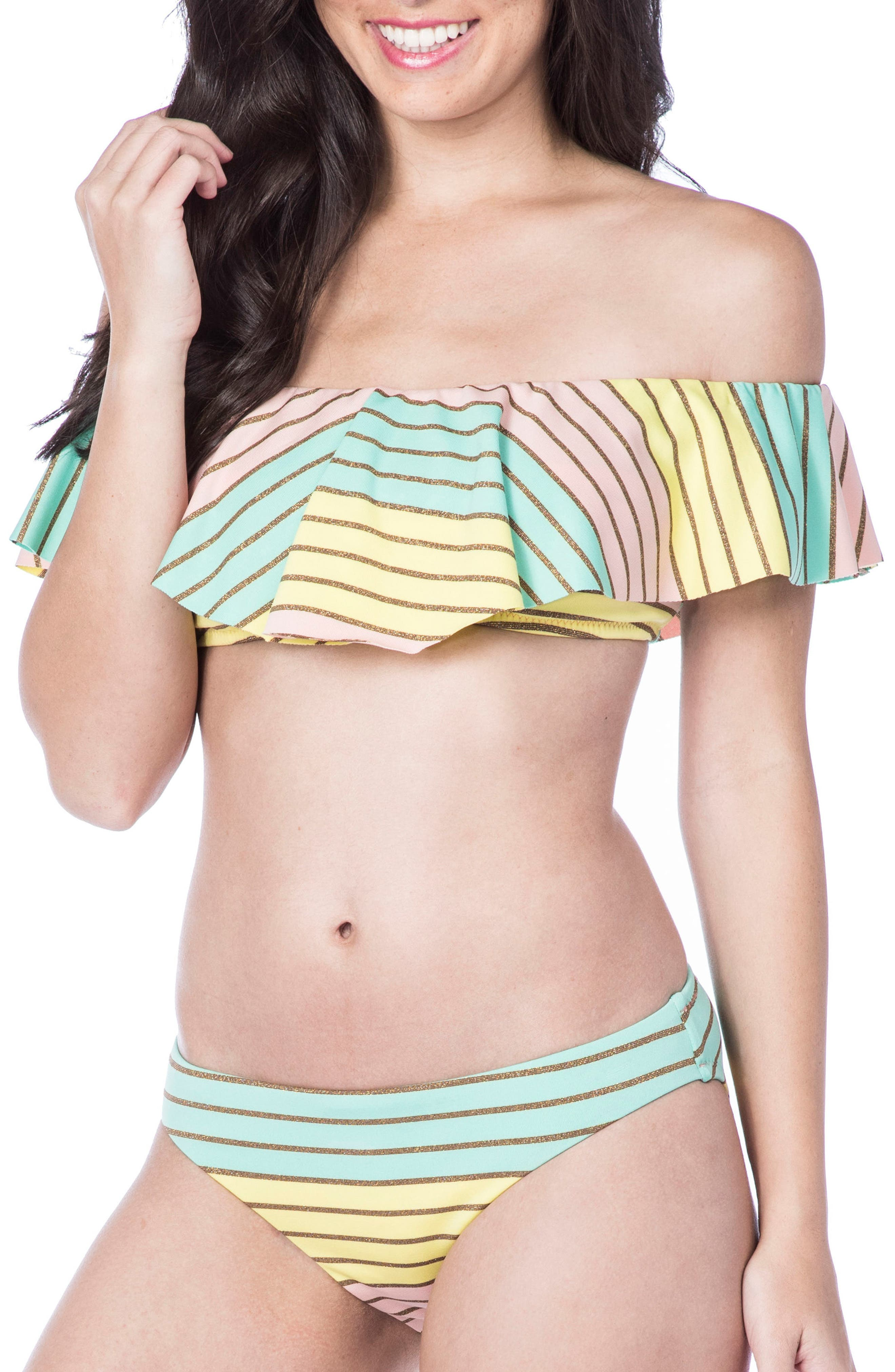 Metallic Stripe Ruffle Bikini Top,                             Main thumbnail 1, color,                             Multi-Colored