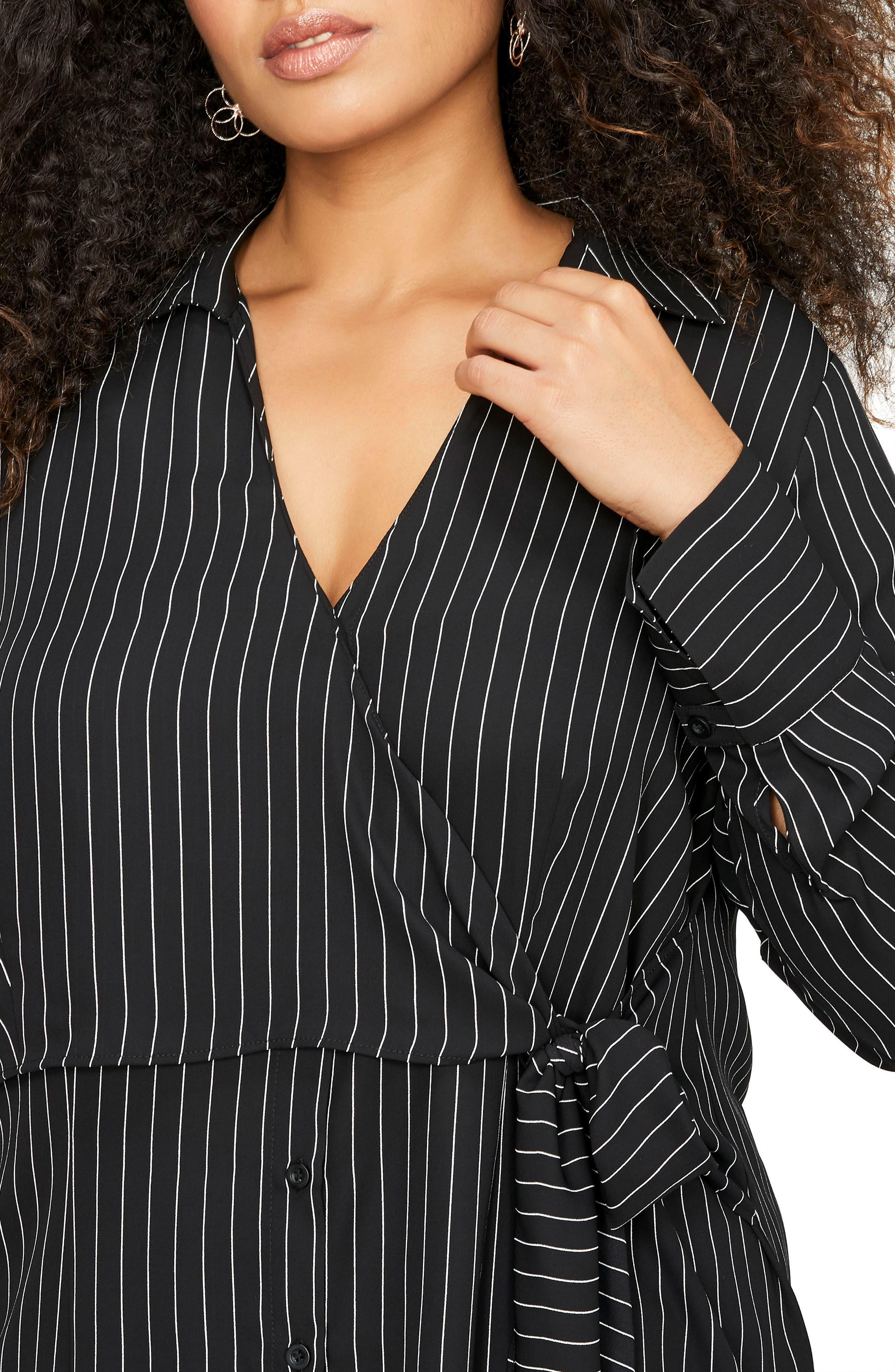 Side Tie Stripe Shirt,                             Alternate thumbnail 3, color,                             Pin Stripe Black Combo