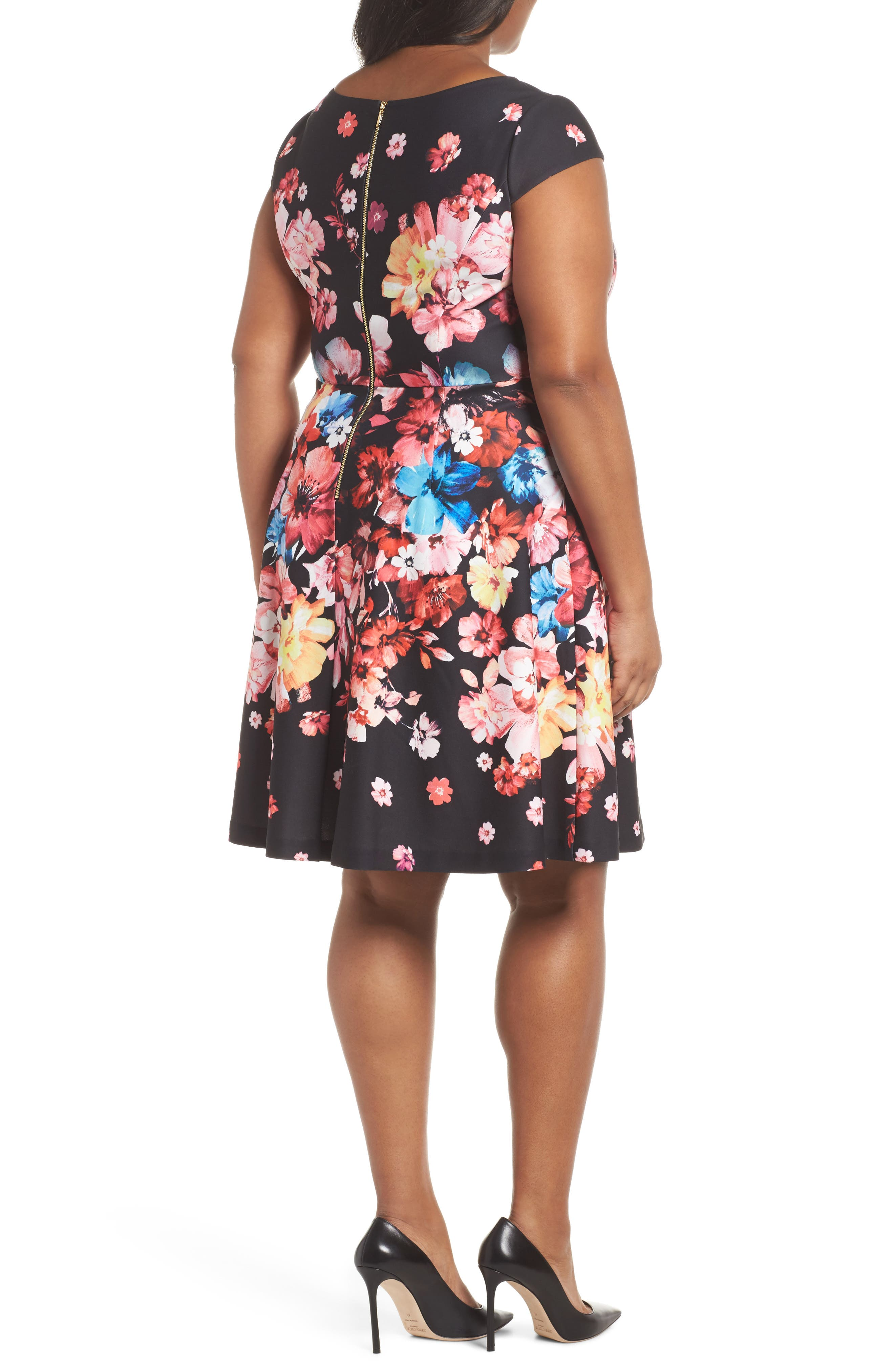 Spring In Bloom Fit & Flare Dress,                             Alternate thumbnail 2, color,                             Black Multi