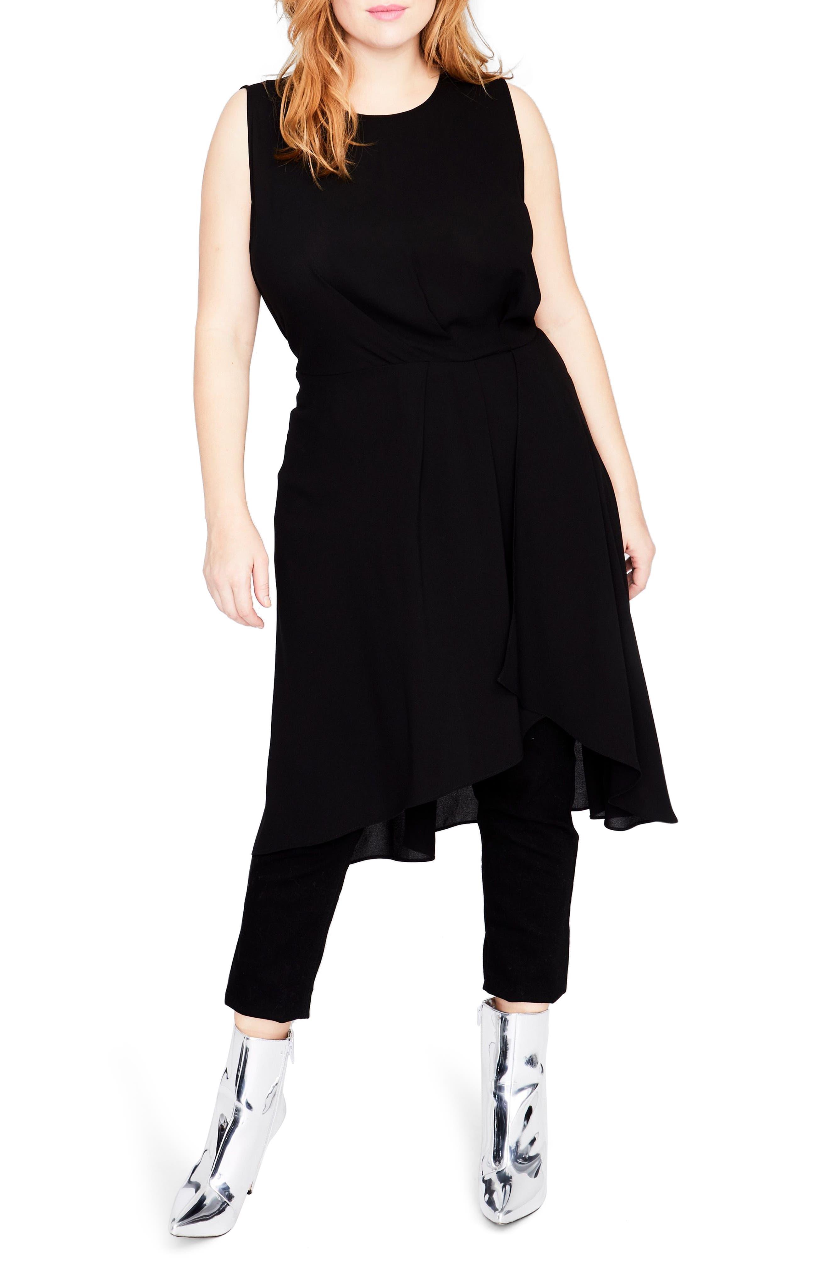 Sleeveless Cascade Tunic Dress,                             Main thumbnail 1, color,                             Black
