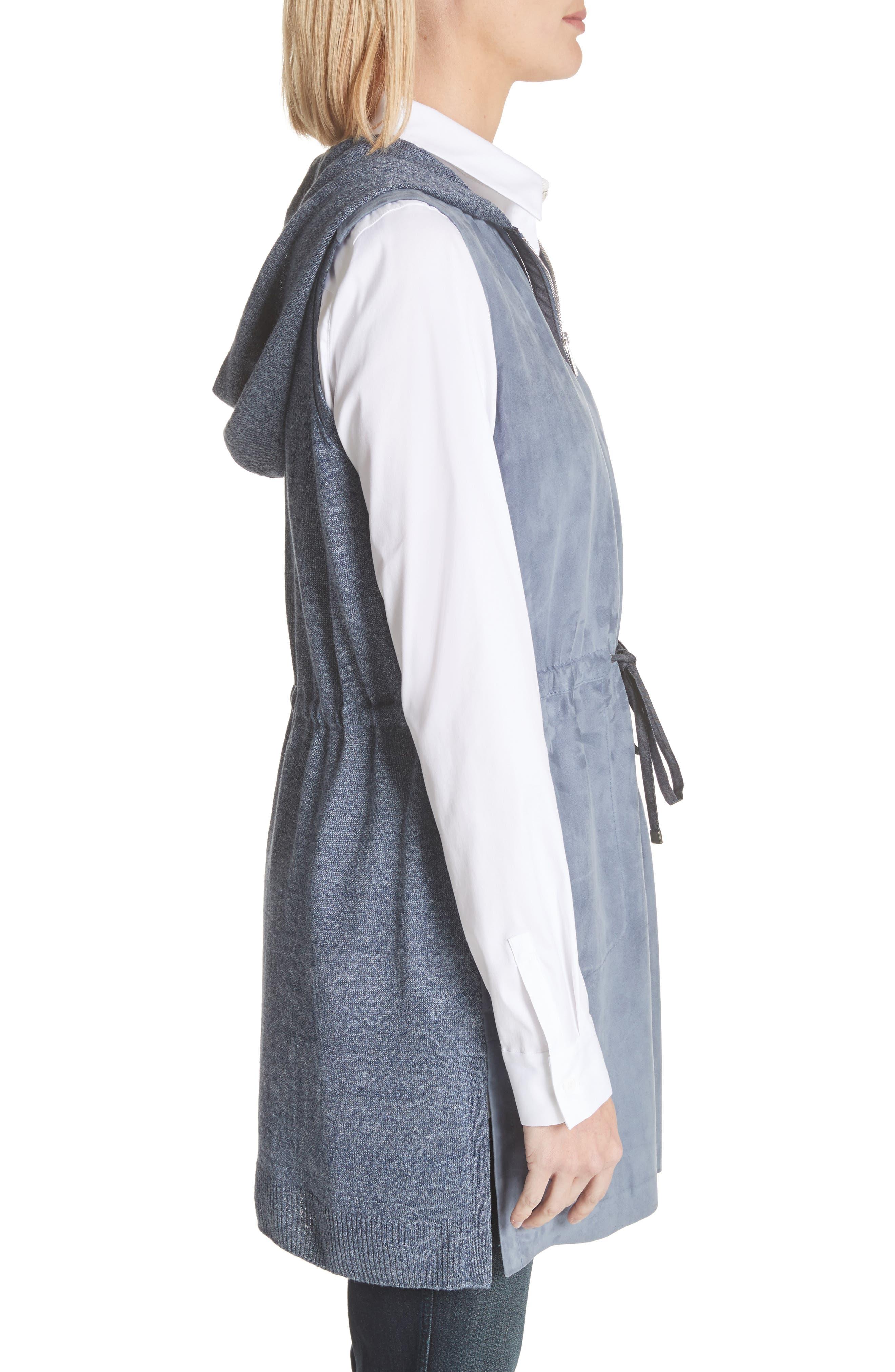 Salma Suede Front Longline Vest,                             Alternate thumbnail 3, color,                             Celestial Blue