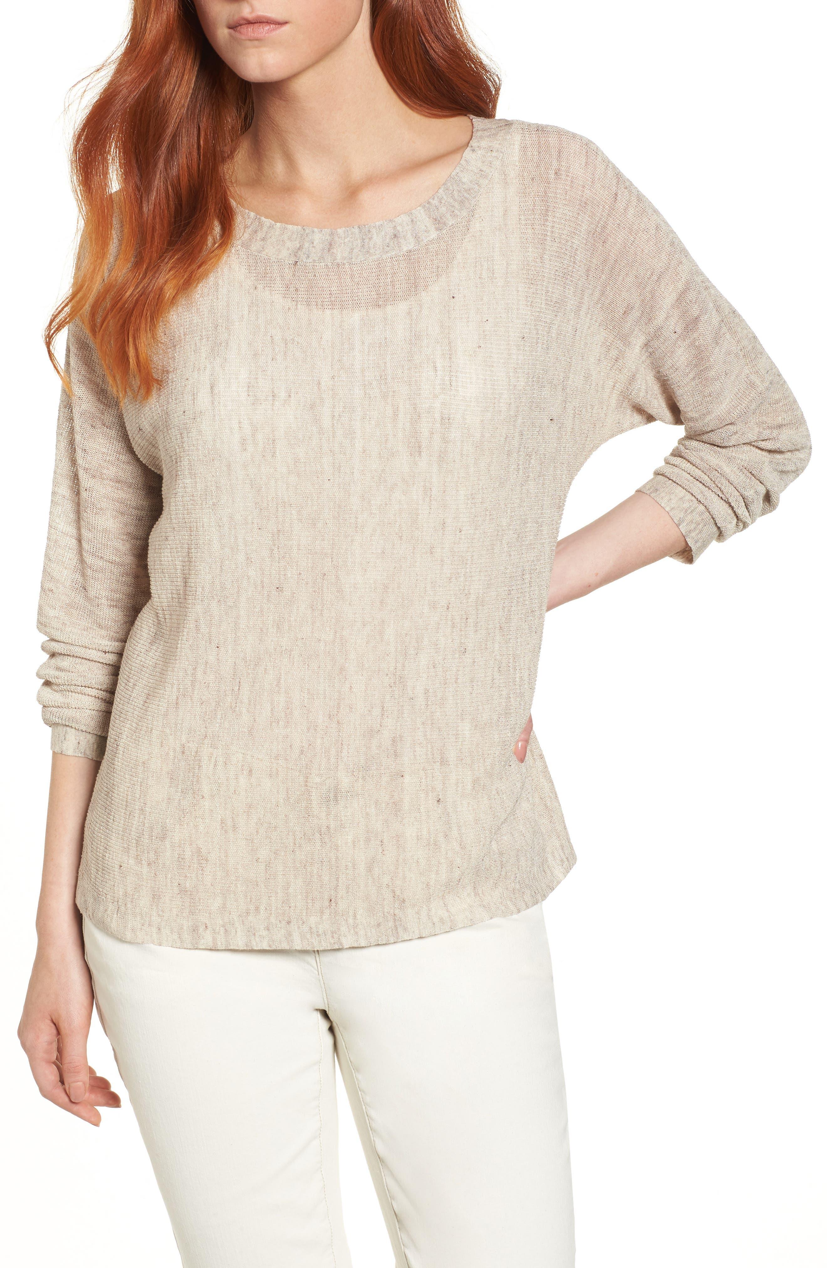 Linen Blend Sweater,                         Main,                         color, Buttercream
