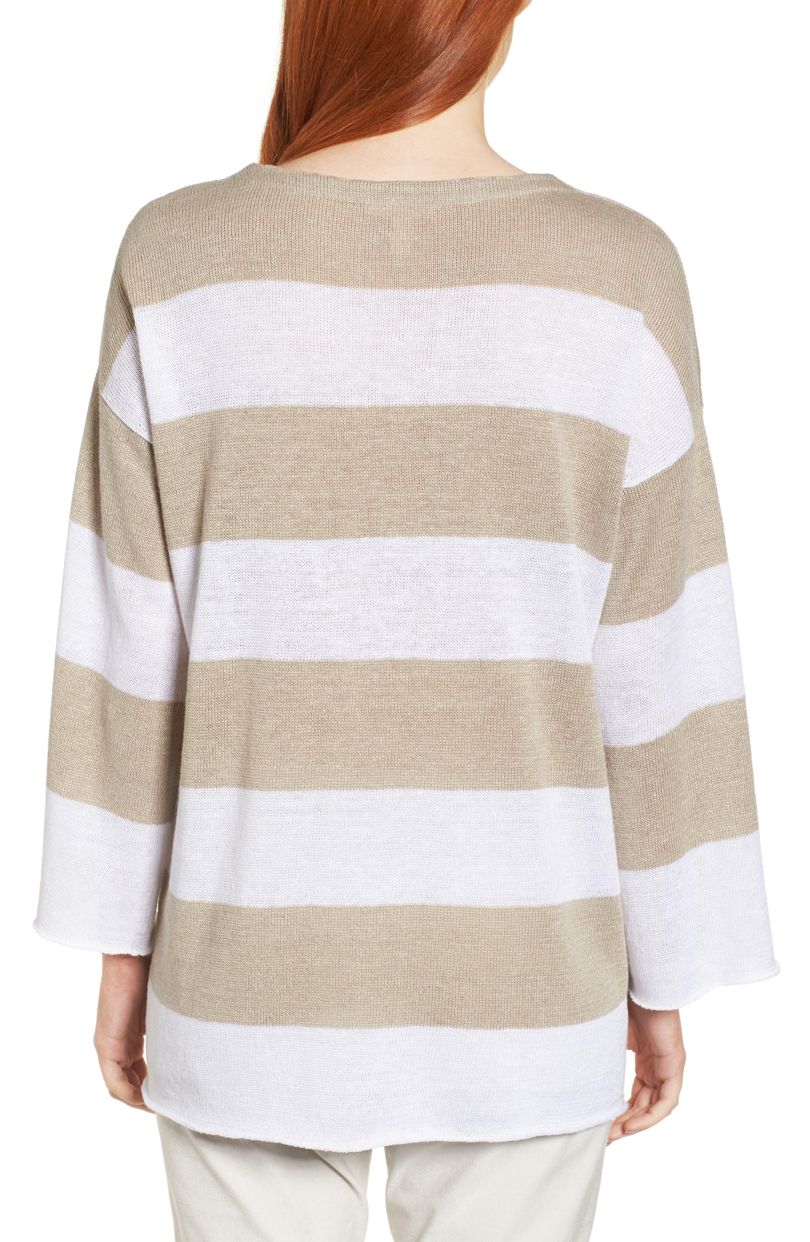 Stripe Organic Linen Knit A-Line Top,                             Alternate thumbnail 2, color,                             White/ Natural