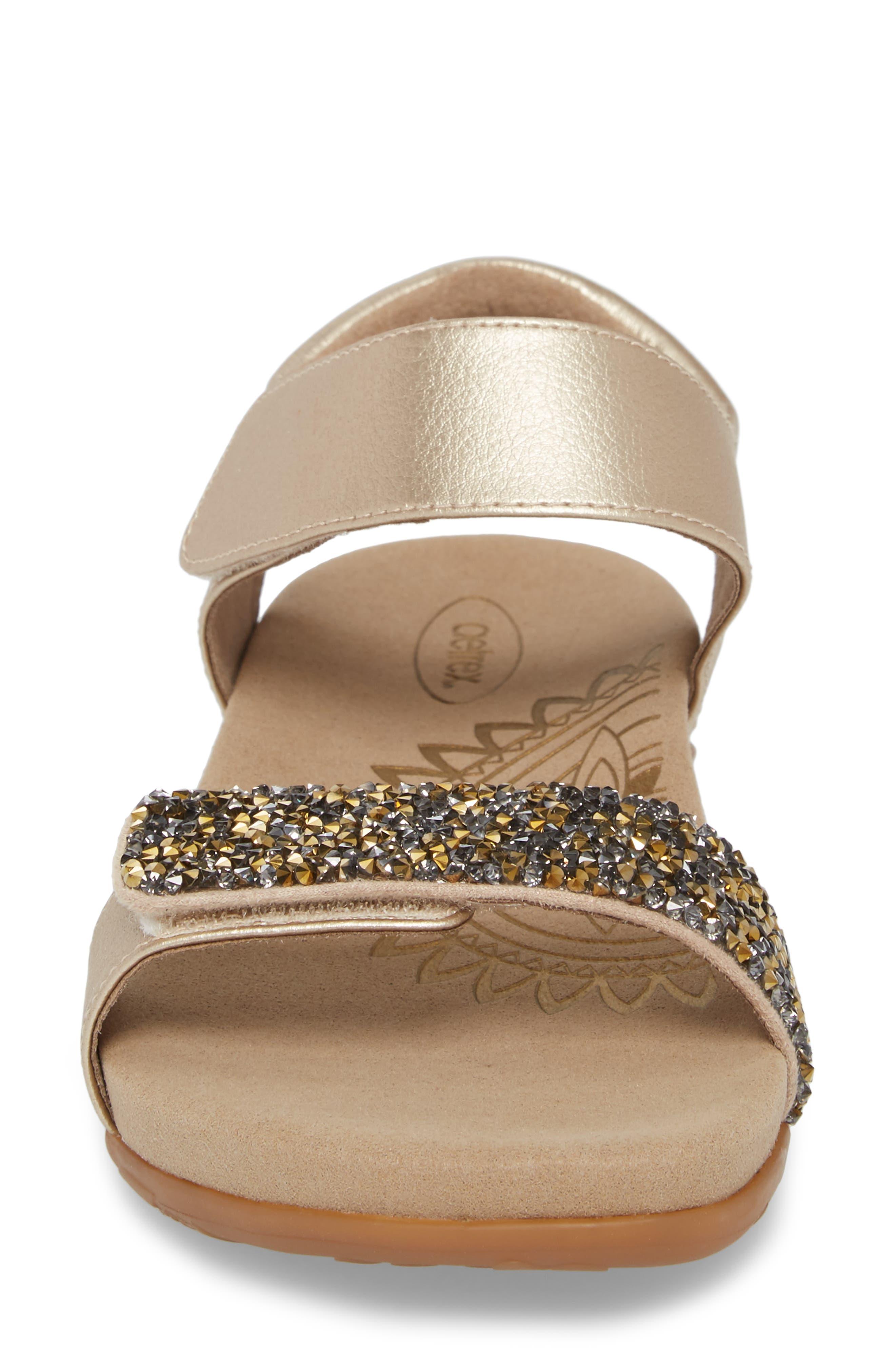 Maria Embellished Sandal,                             Alternate thumbnail 4, color,                             Gold Leather