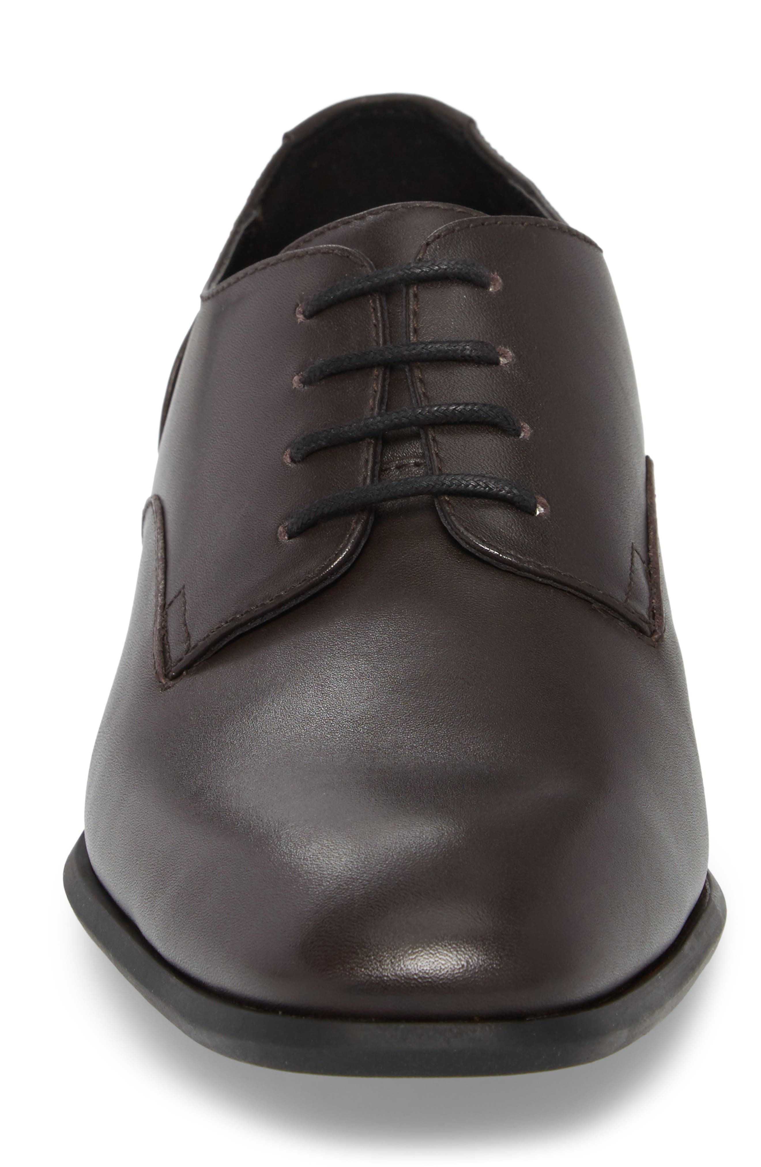 Lucca Plain Toe Derby,                             Alternate thumbnail 4, color,                             Dark Brown Leather