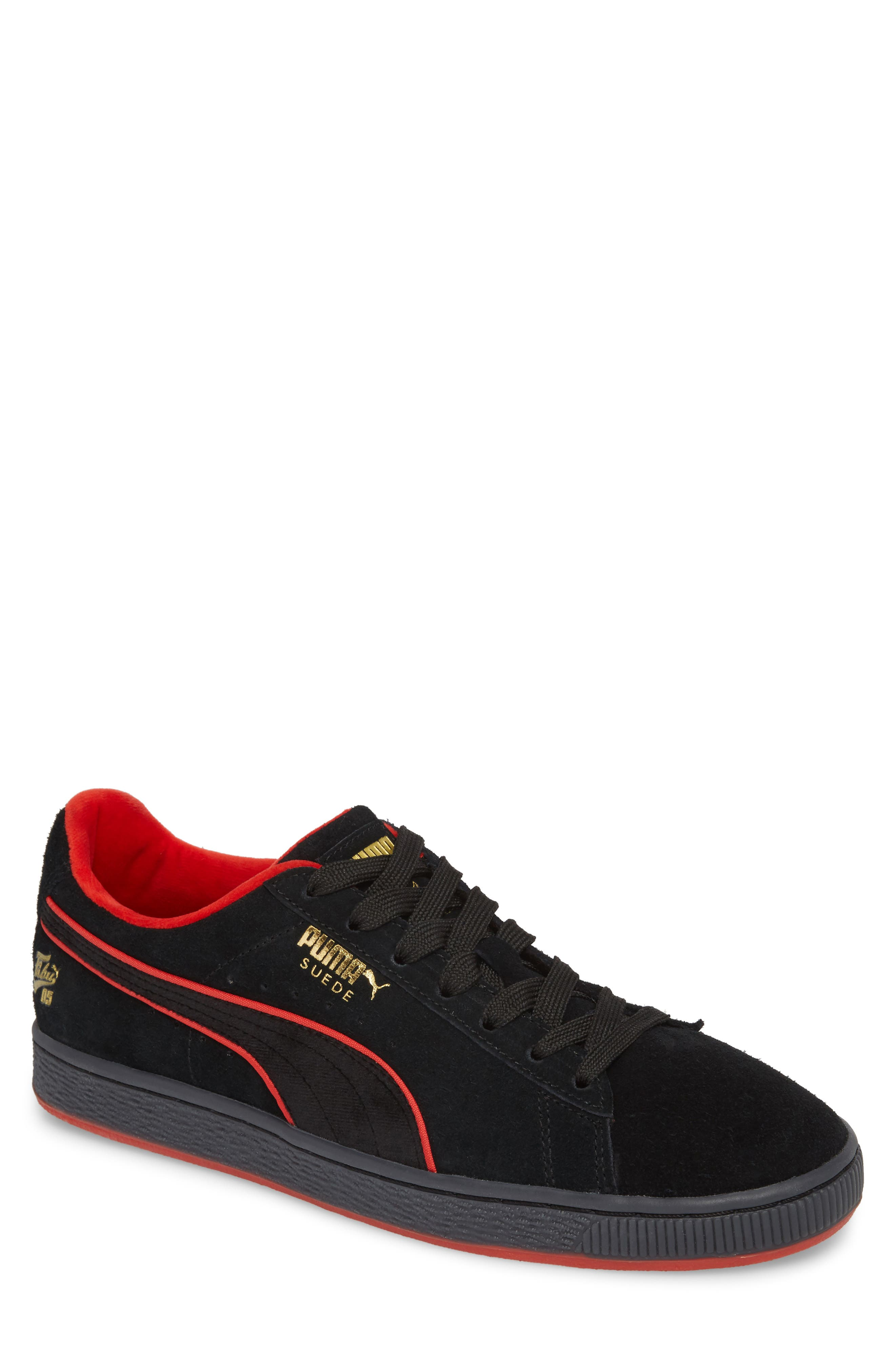 x FUBU Suede Classic Sneaker,                             Main thumbnail 1, color,                             Puma Black - High Risk Red