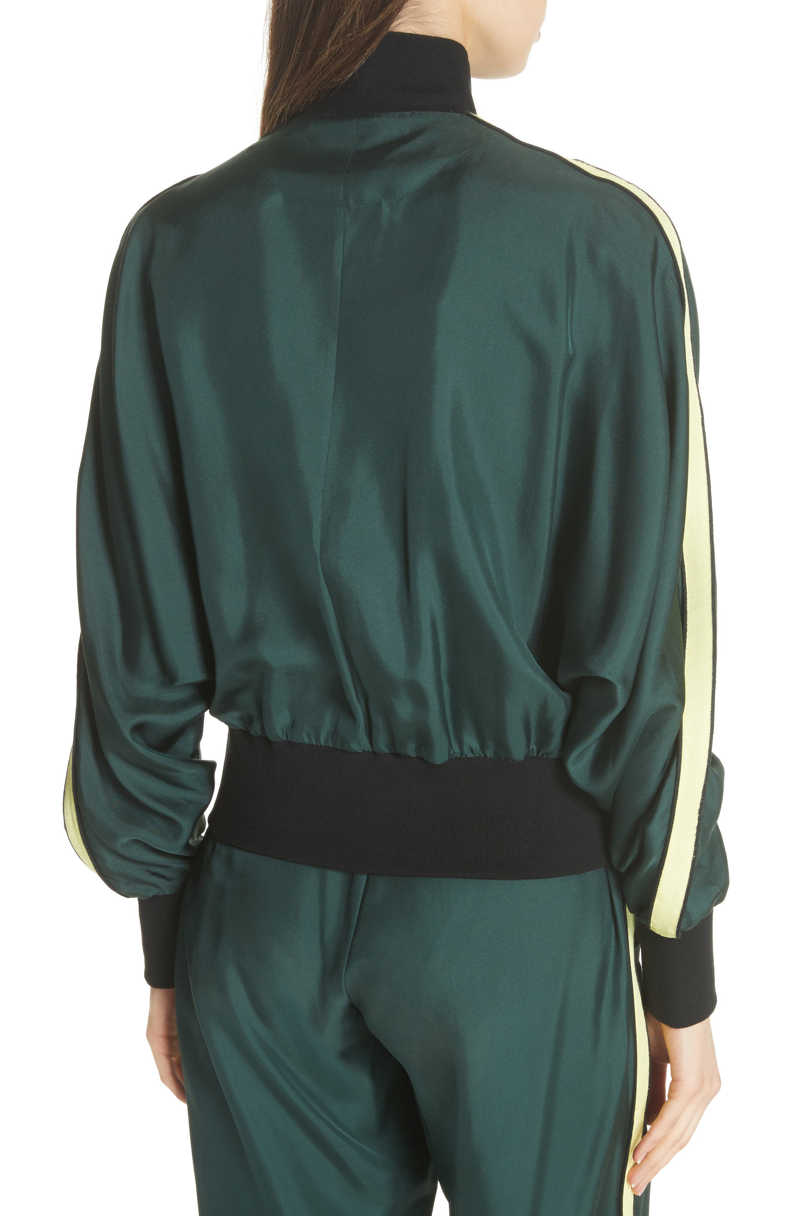 Silk Track Jacket,                             Alternate thumbnail 5, color,                             Green
