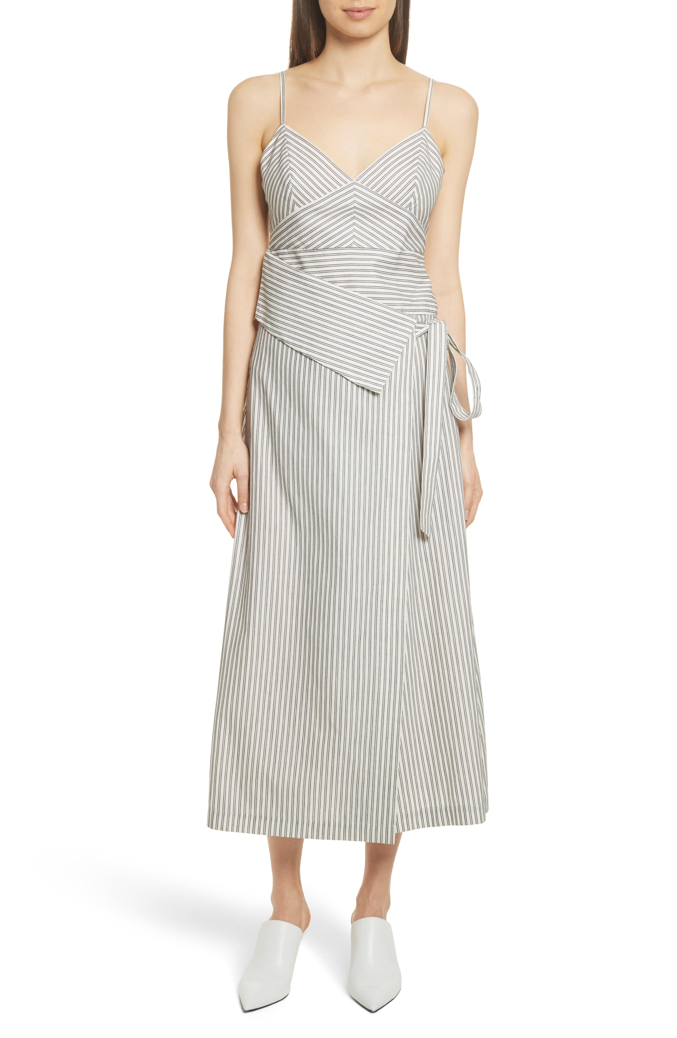 Stripe Wrap Front Midi Dress,                             Main thumbnail 1, color,                             Blue/ Ivory Stripe
