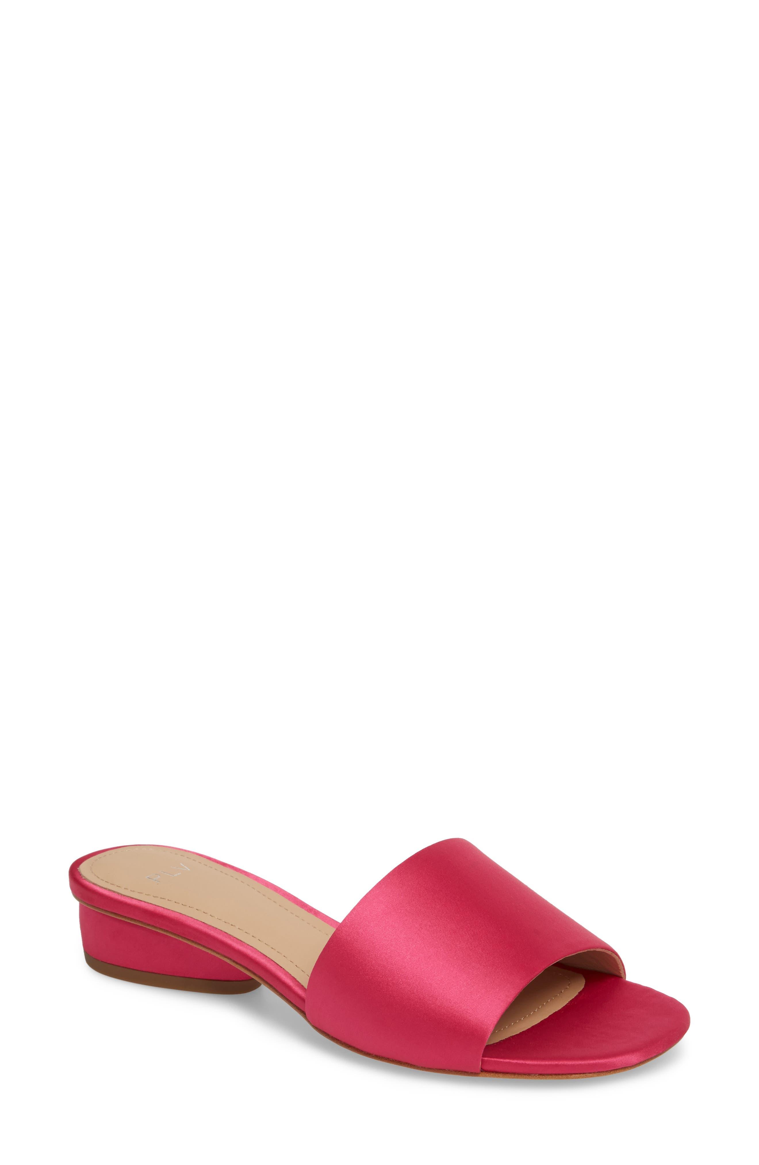 Mallory Slide Sandal,                             Main thumbnail 1, color,                             Azalea Satin