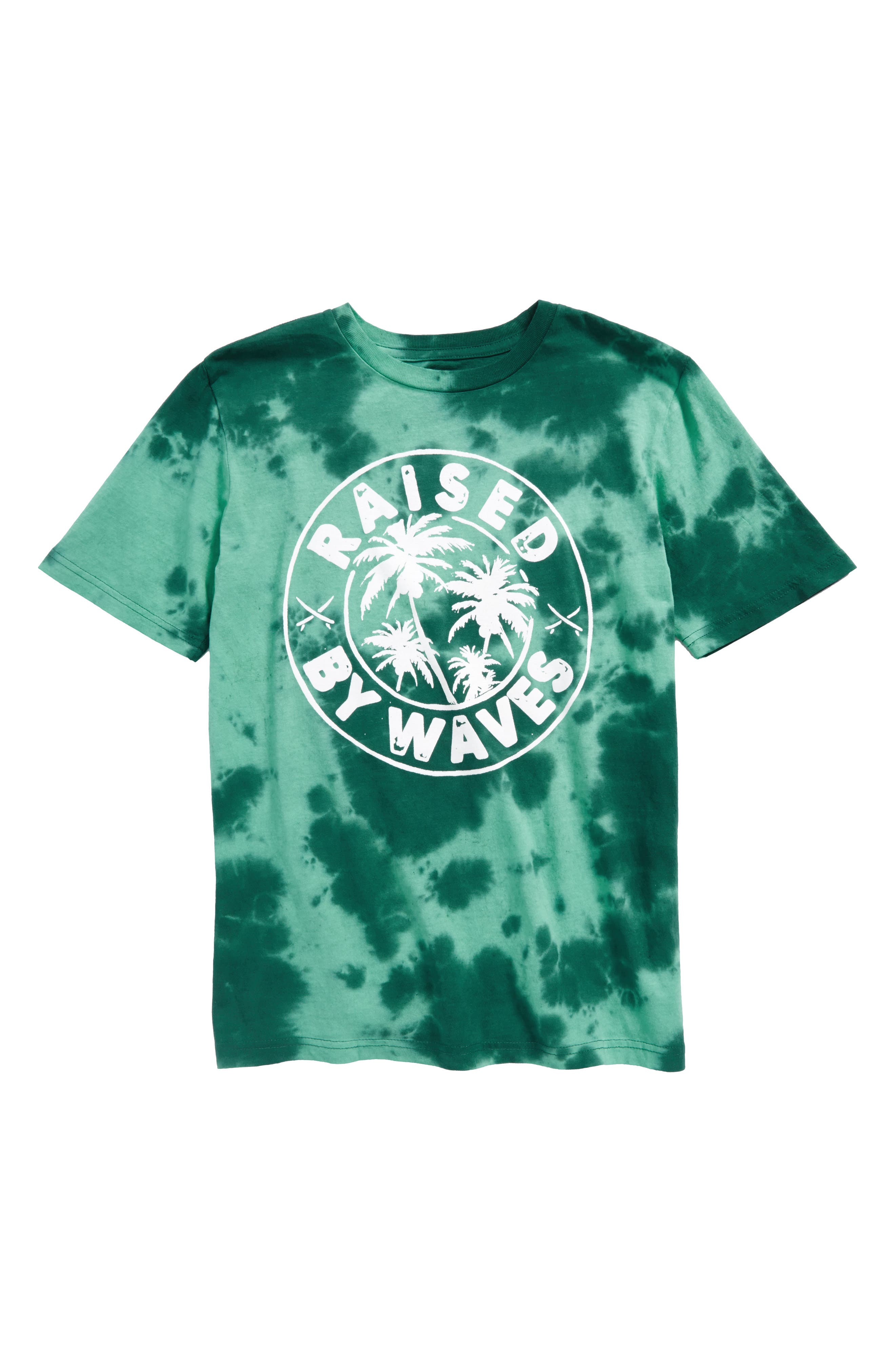 Raised by Waves Graphic T-Shirt,                             Main thumbnail 1, color,                             Teal Gem- Black Waves