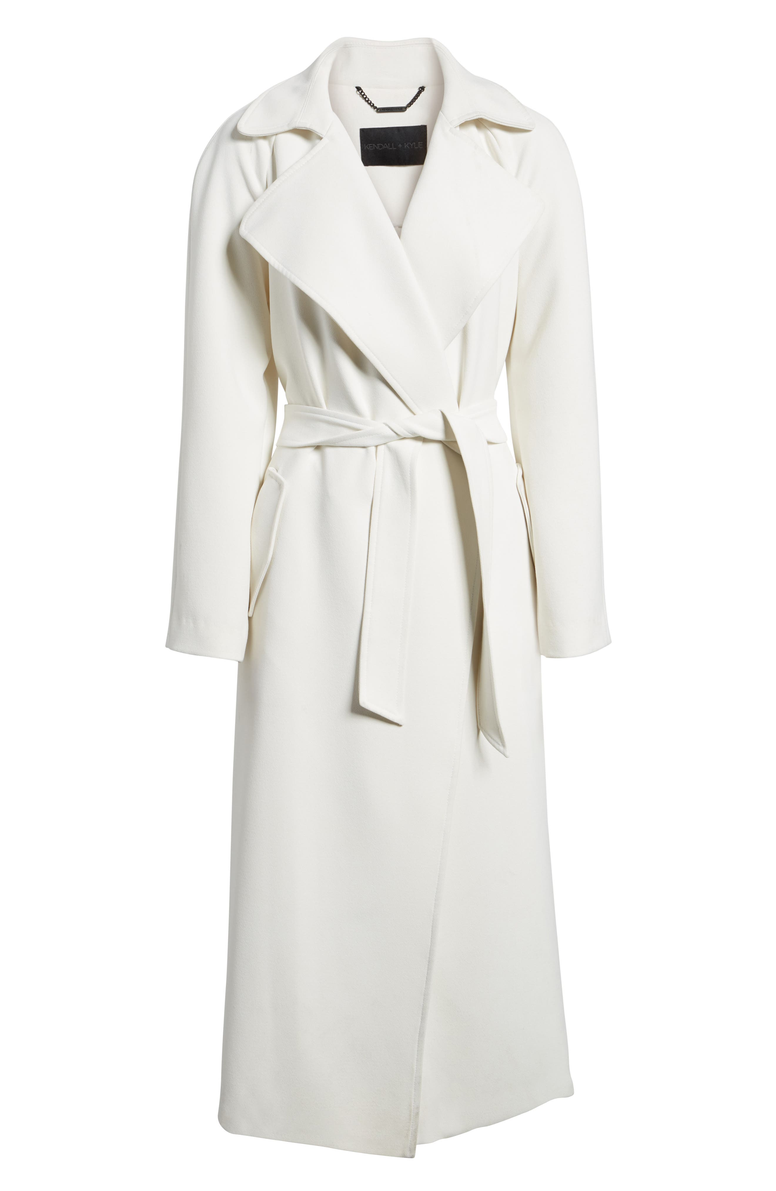 Drape Trench Coat,                             Alternate thumbnail 6, color,                             White