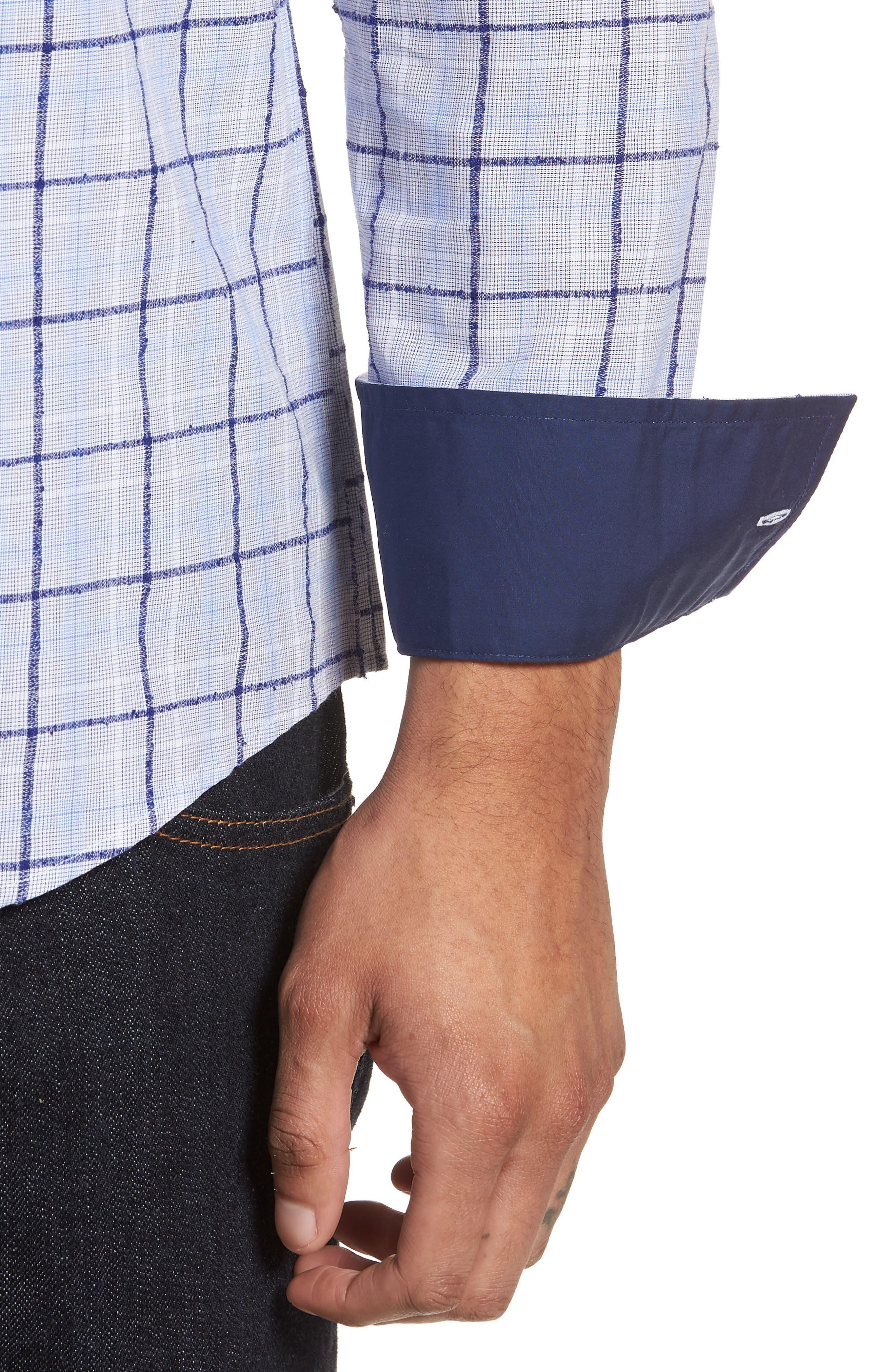 Slim Fit Bouclé Plaid Sport Shirt,                             Alternate thumbnail 4, color,                             Blue Boucle Plaid
