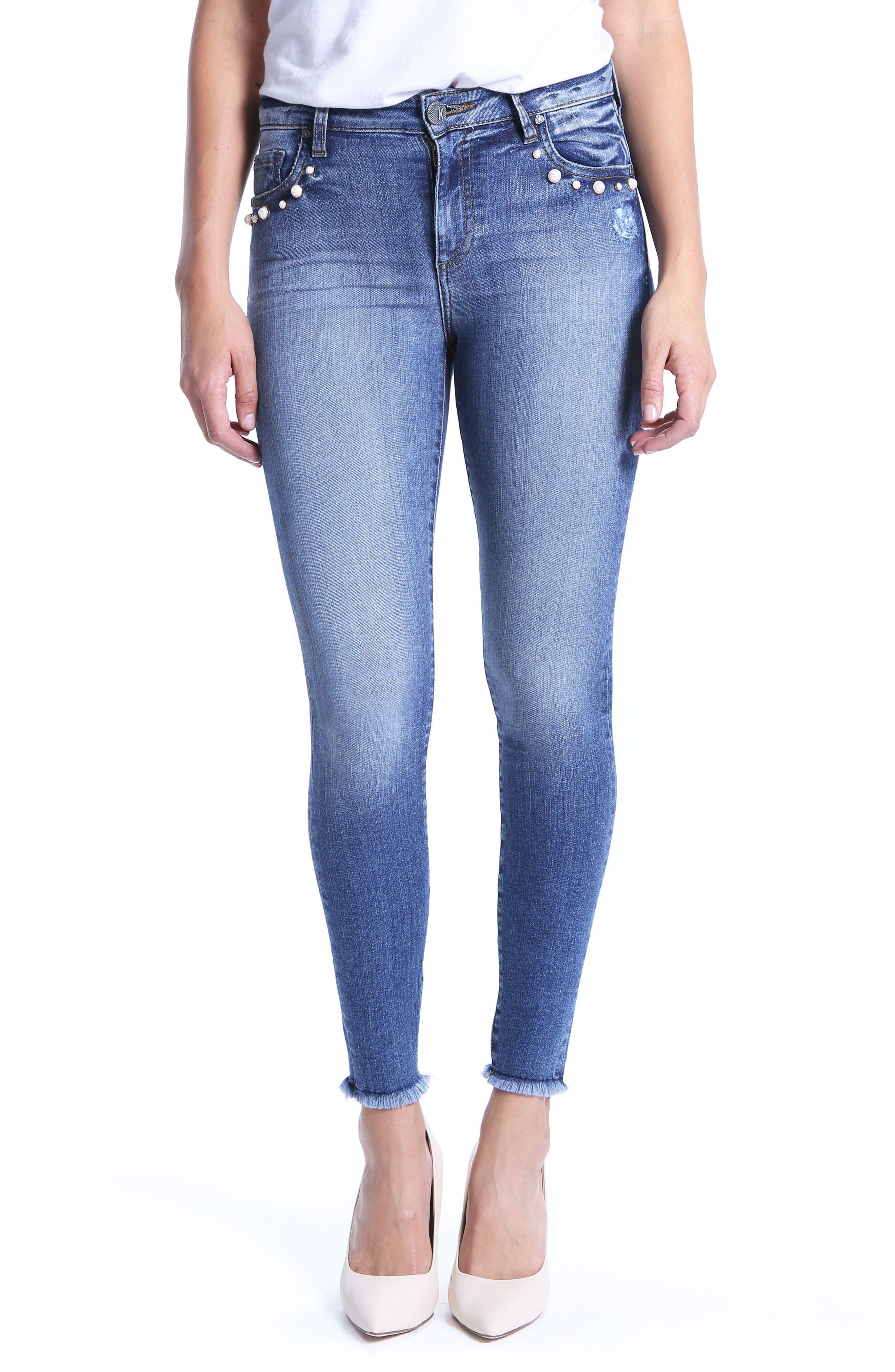 Embellished Ankle Skinny Jeans,                             Main thumbnail 1, color,                             Regular