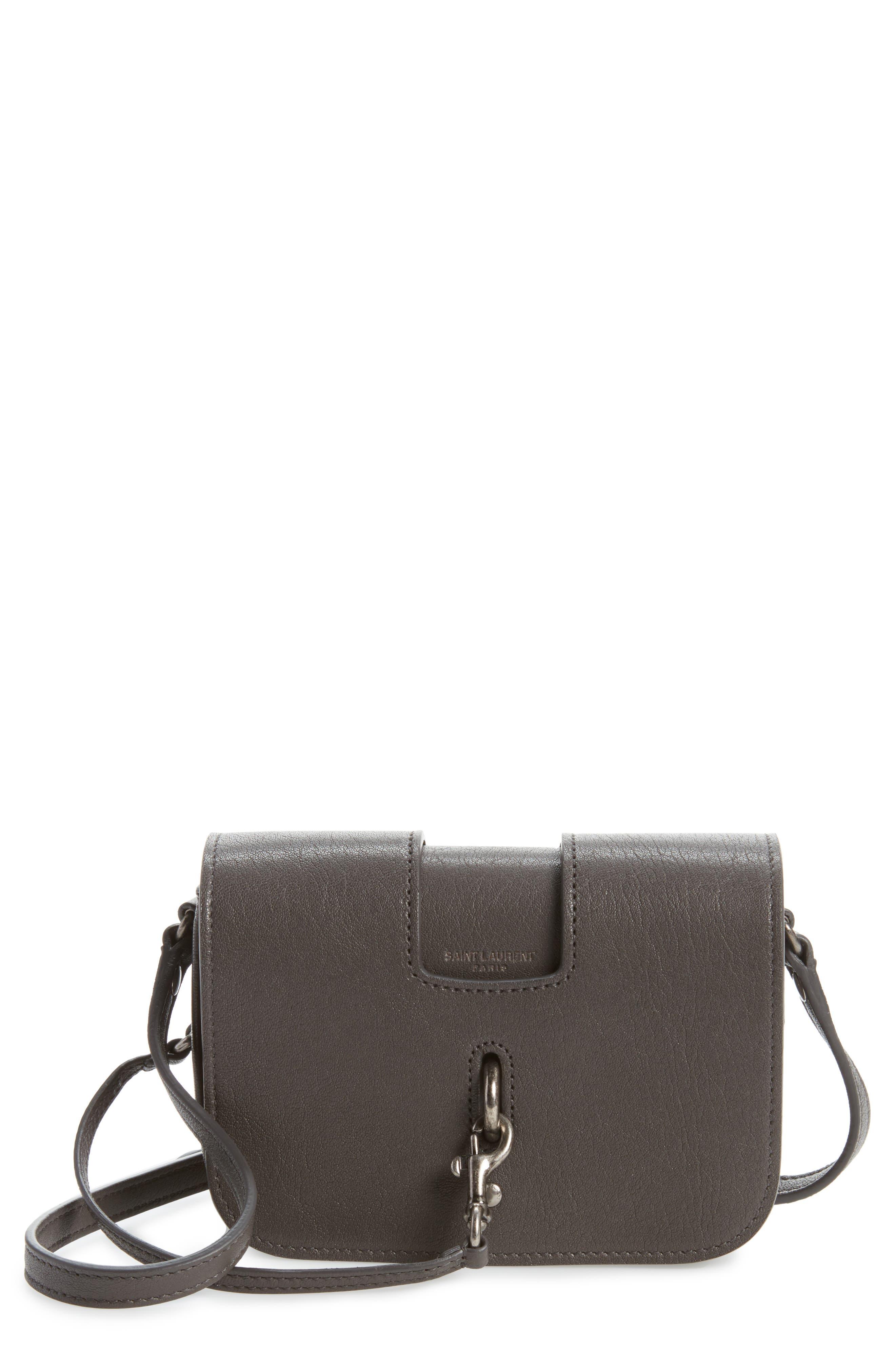 Calfskin Leather Crossbody Bag,                             Main thumbnail 1, color,                             Asphalt