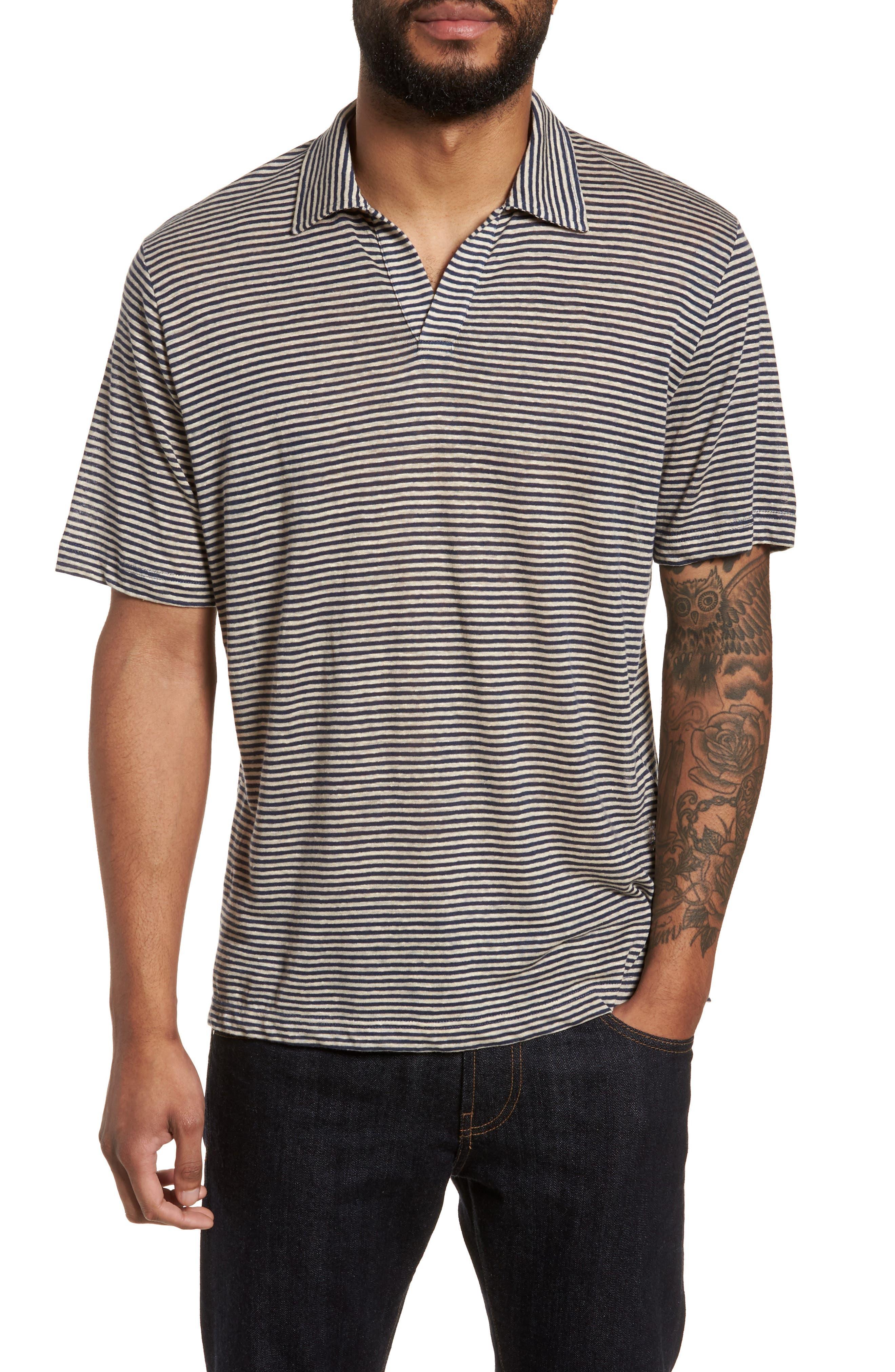 Eleventy Johnny Stripe Linen Polo Shirt
