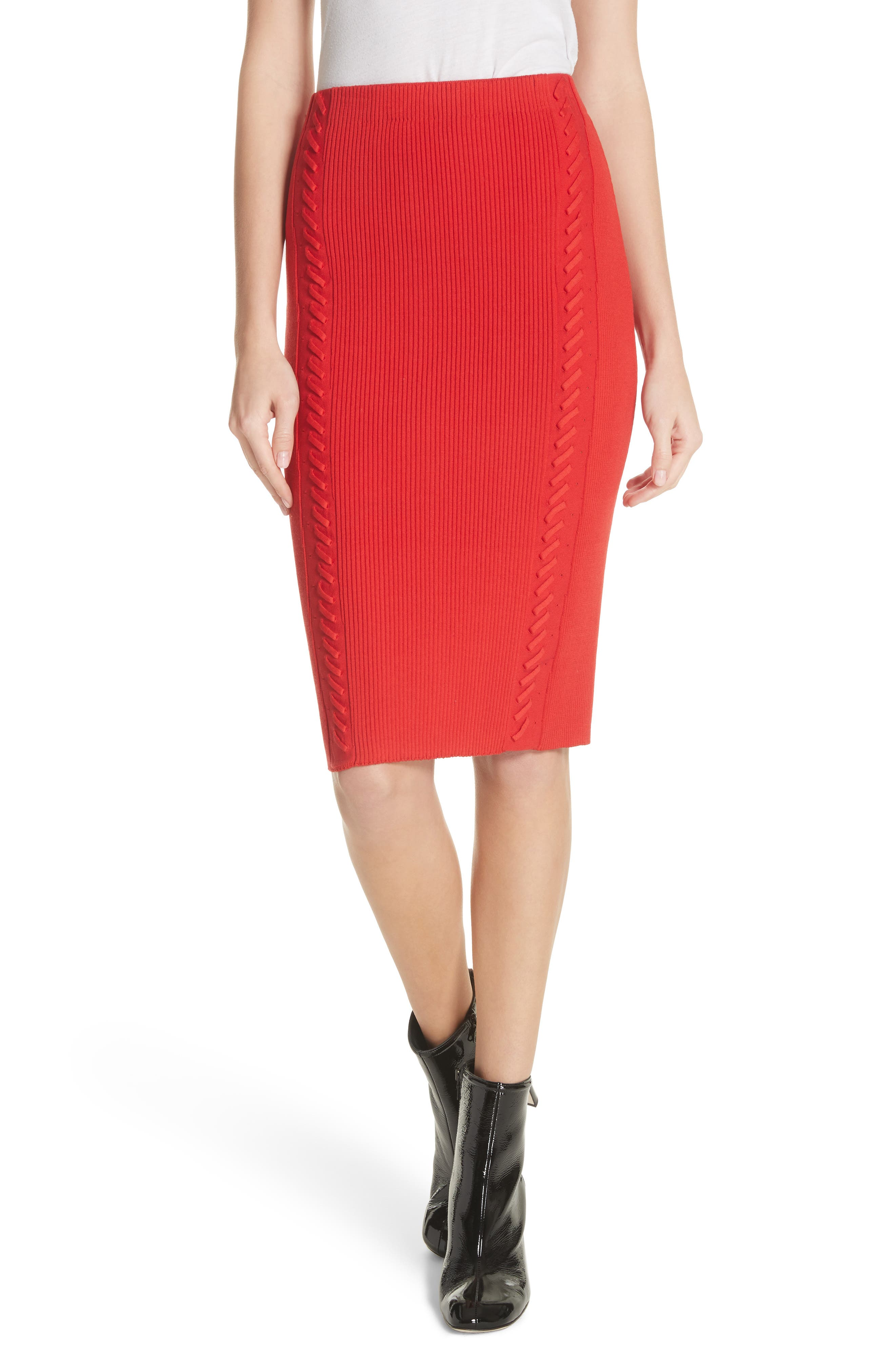 Brandy Whipstitch Pencil Skirt,                             Main thumbnail 1, color,                             Red