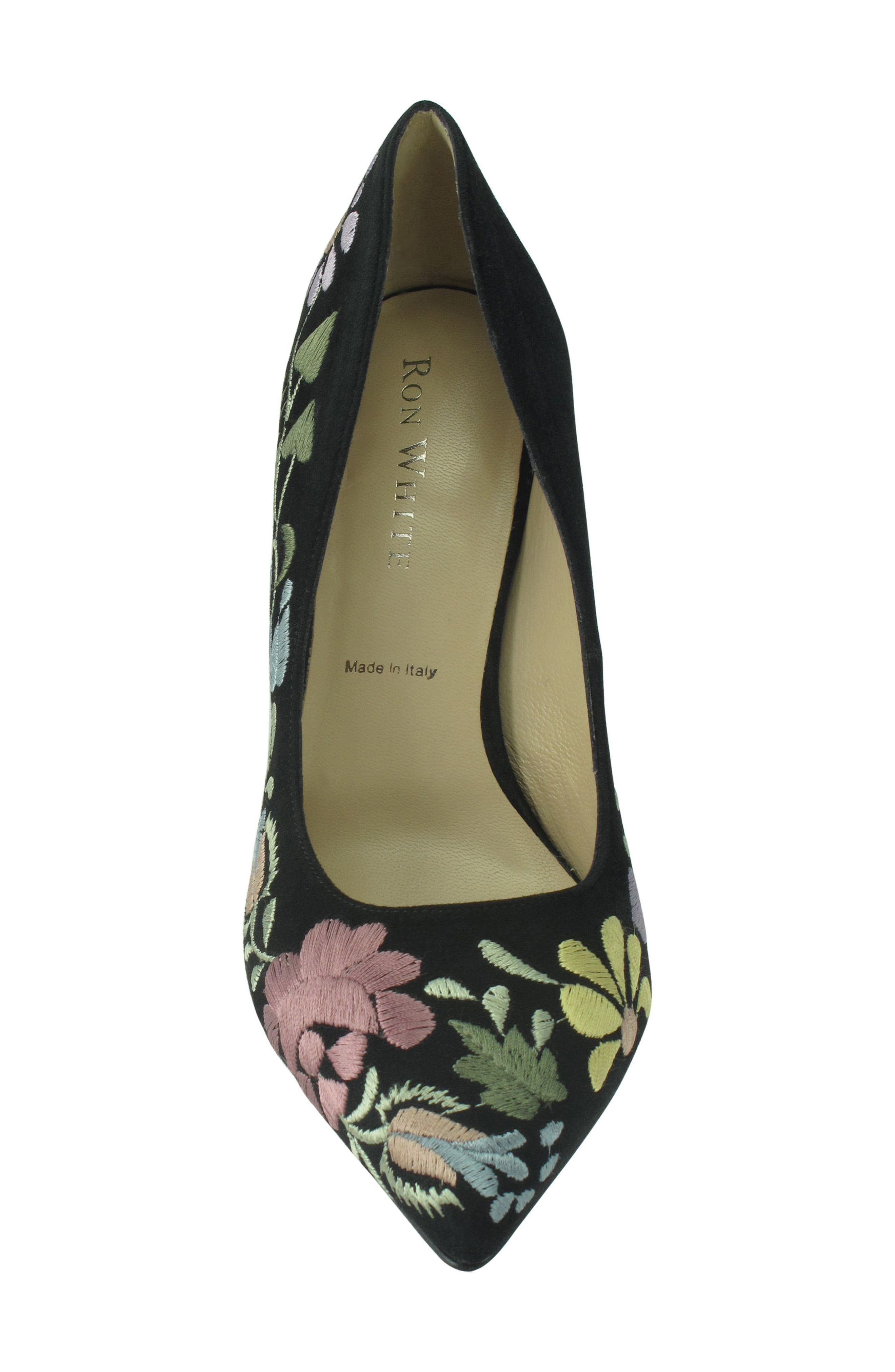Shana Flower Embroidered Pump,                             Alternate thumbnail 3, color,                             Onyx Multi Suede