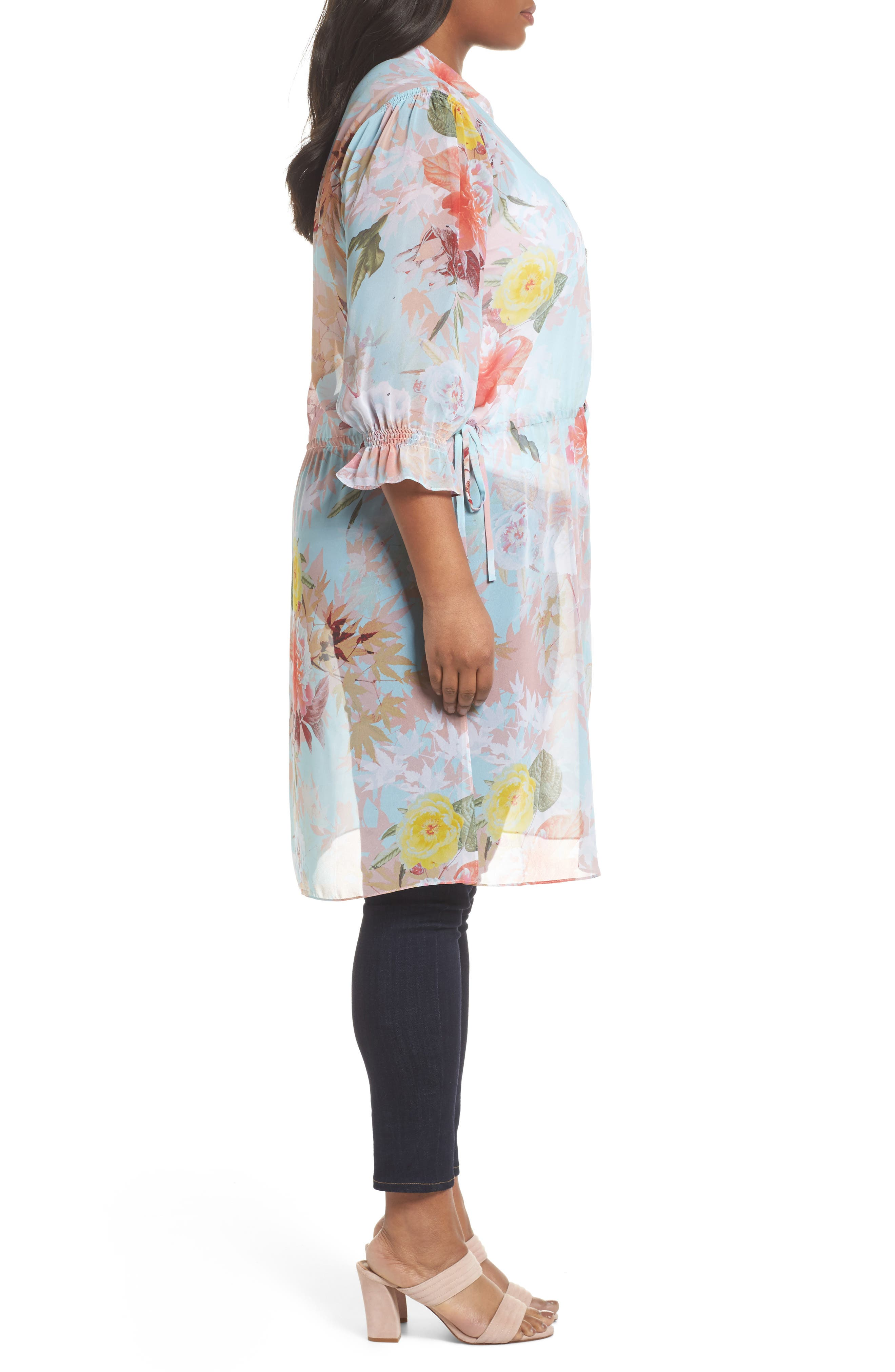 Faded Blooms Tunic Dress,                             Alternate thumbnail 2, color,                             Aqua Glow
