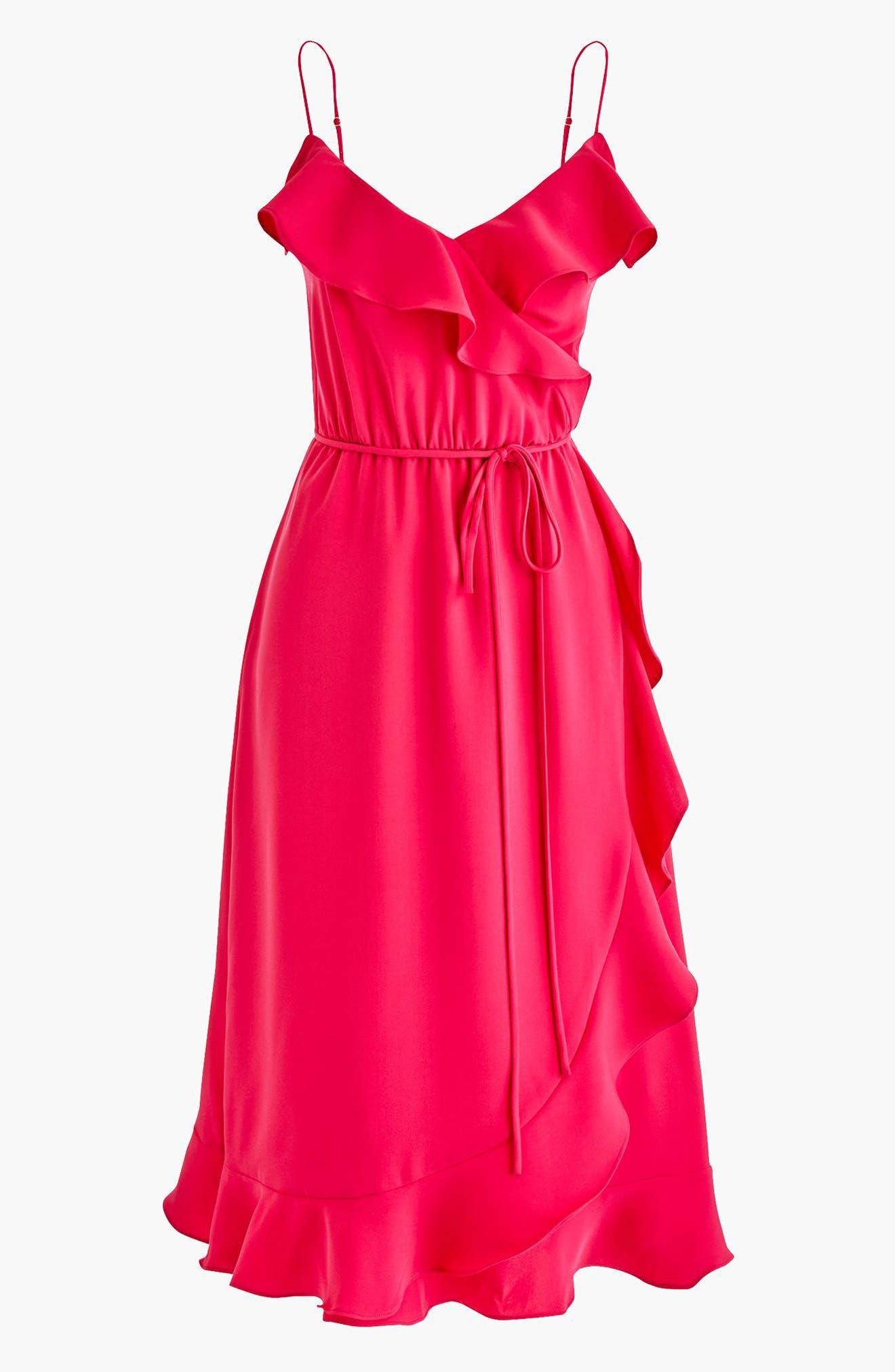 J.Crew Faux Wrap Ruffle Dress,                             Main thumbnail 1, color,                             Wild Fuchsia