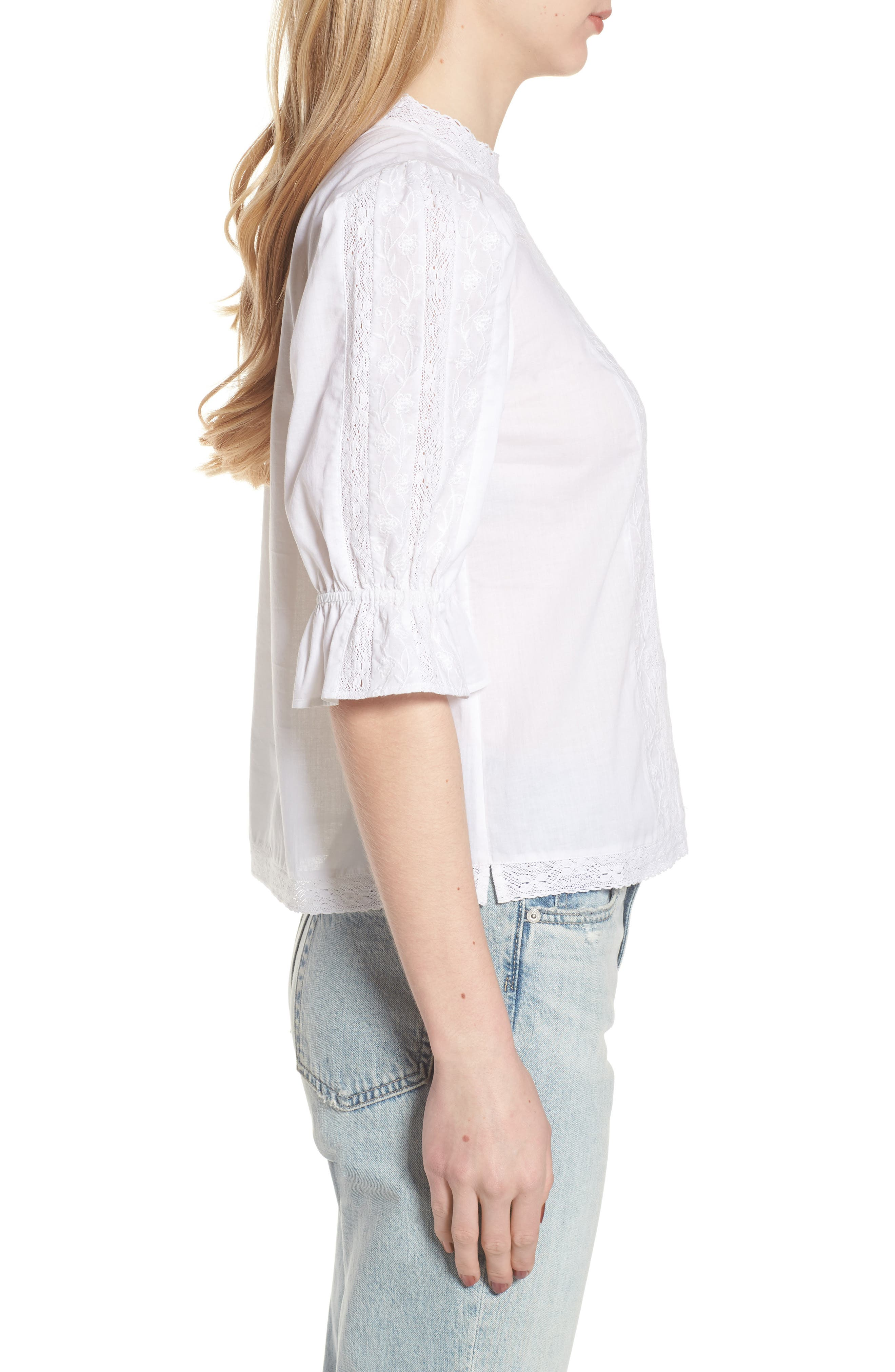 Embroidered Lace Top,                             Alternate thumbnail 3, color,                             White