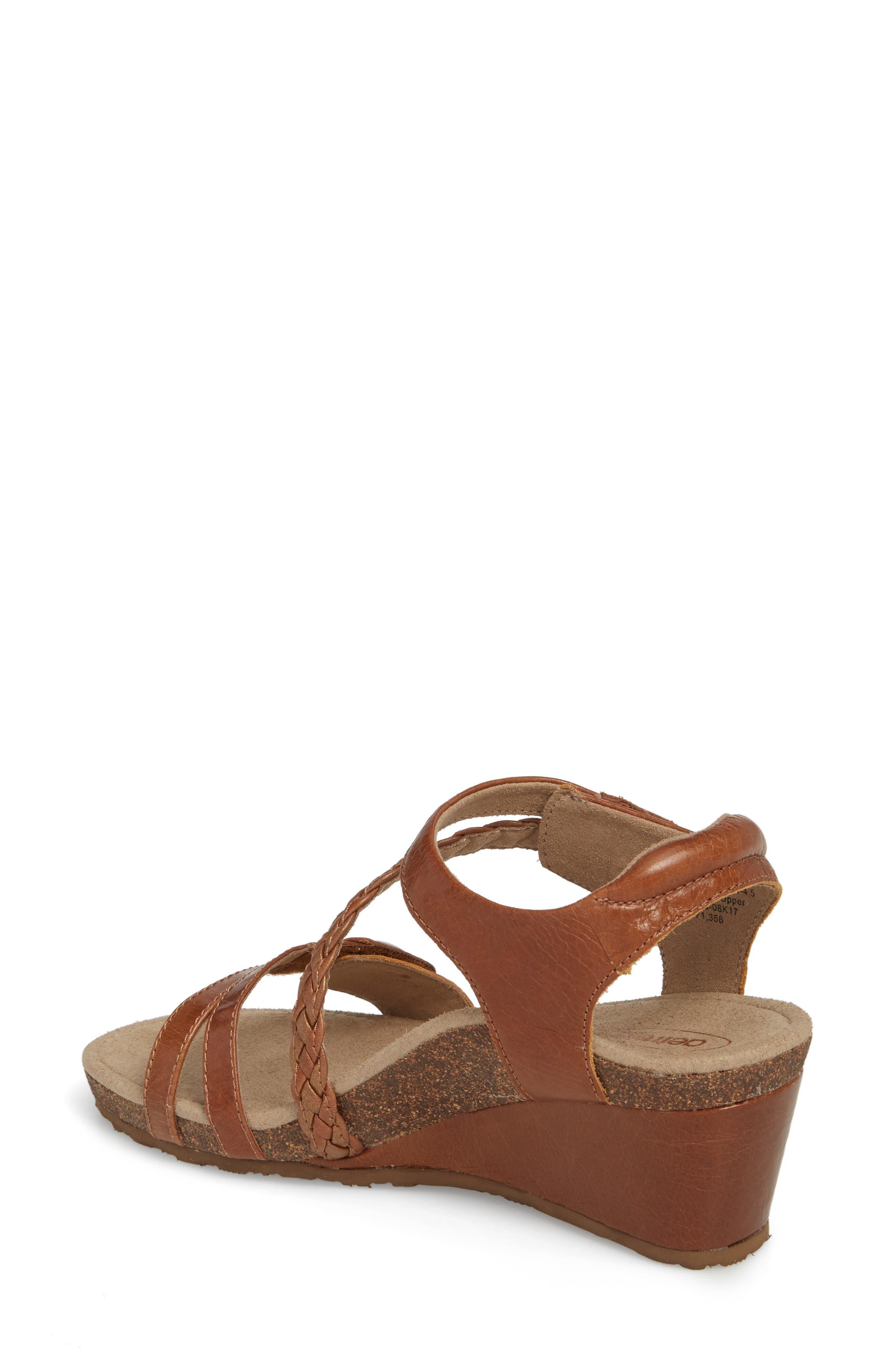 'Naya' Wedge Sandal,                             Alternate thumbnail 2, color,                             Cognac Leather