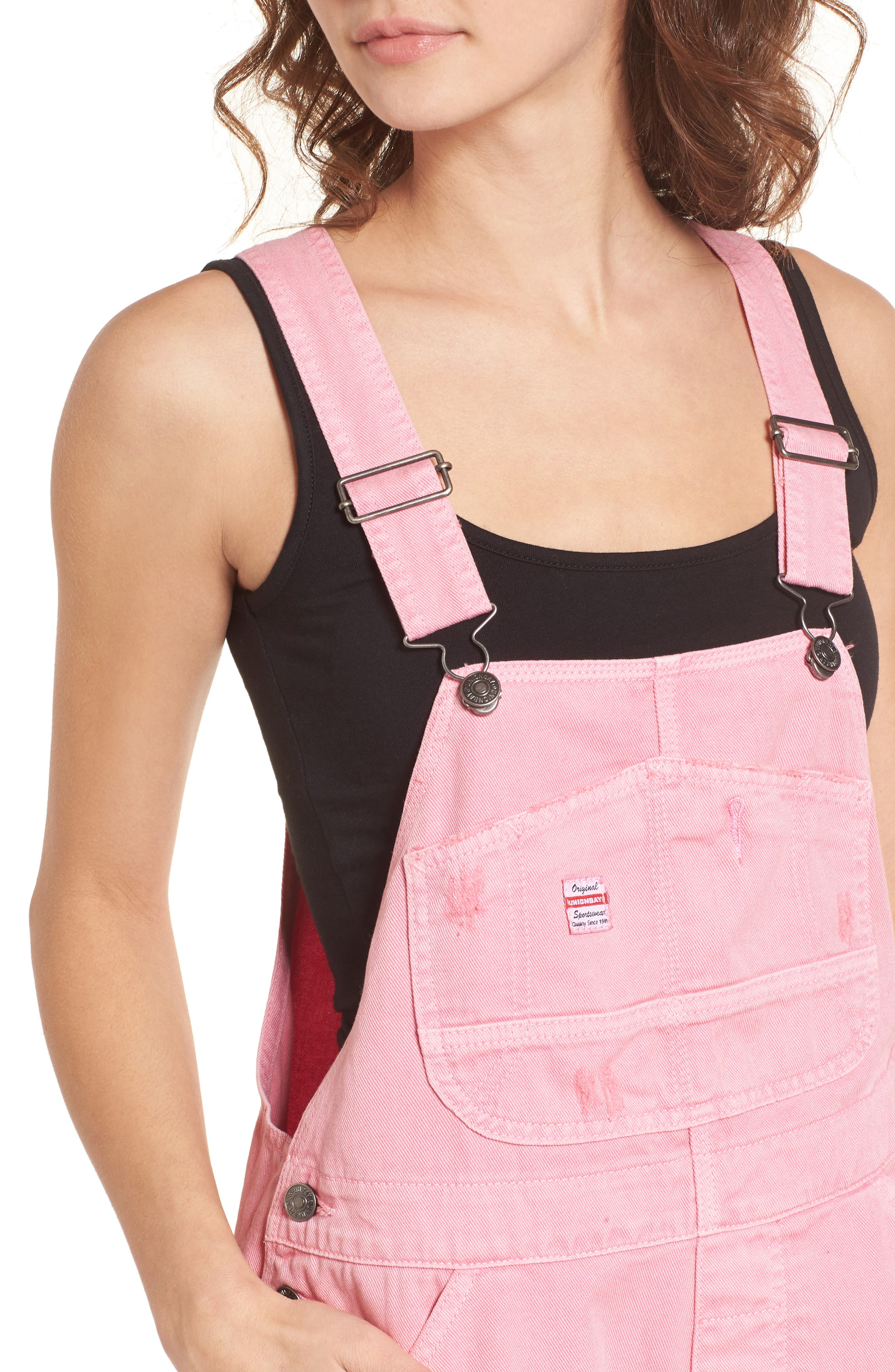 Unionbay Mario Denim Shortalls,                             Alternate thumbnail 4, color,                             Popsicle Pink