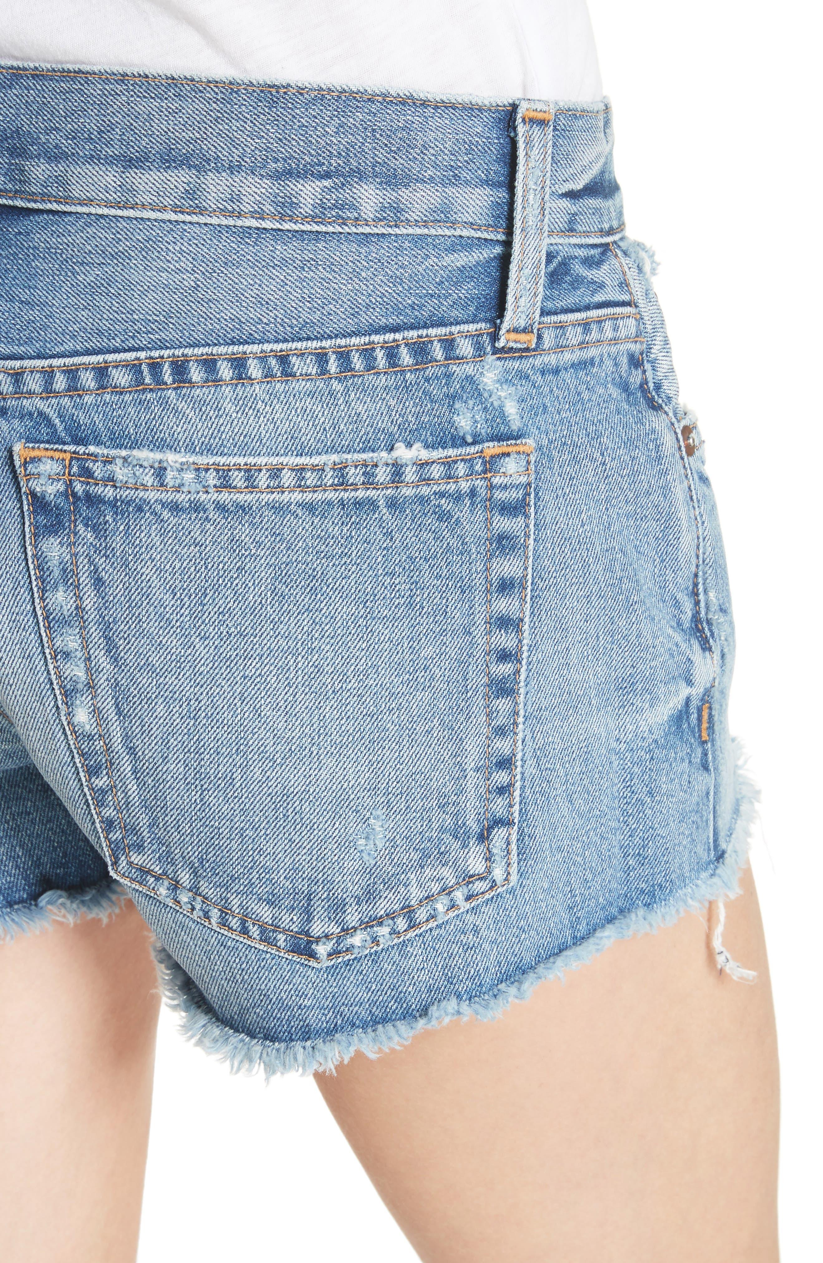 AO.LA Amazing Vintage Denim Shorts,                             Alternate thumbnail 4, color,                             Best Intentions