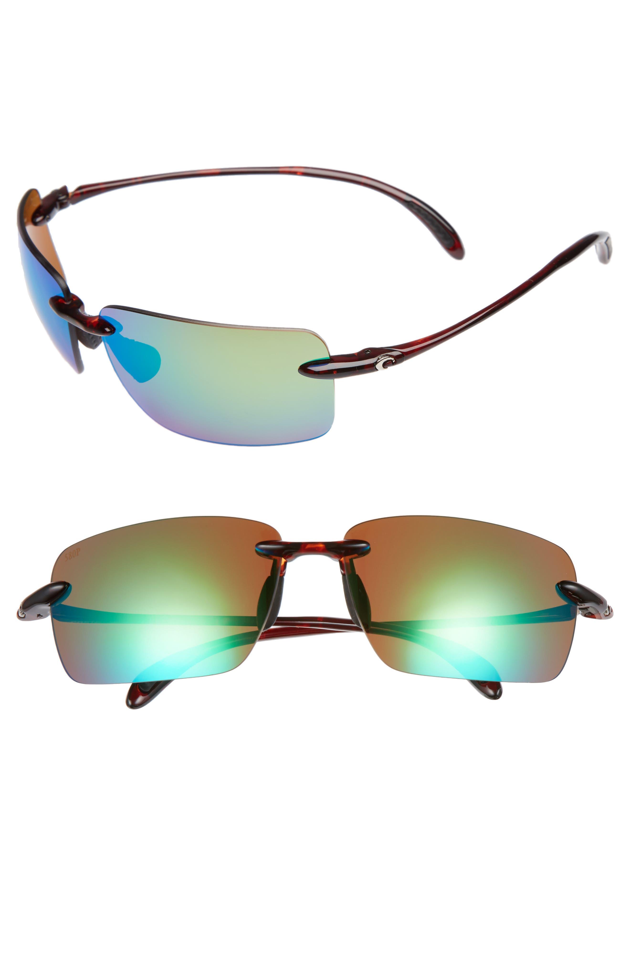 Gulfshore XL 66mm Polarized Sunglasses,                         Main,                         color, Tortoise/ Green Mirror