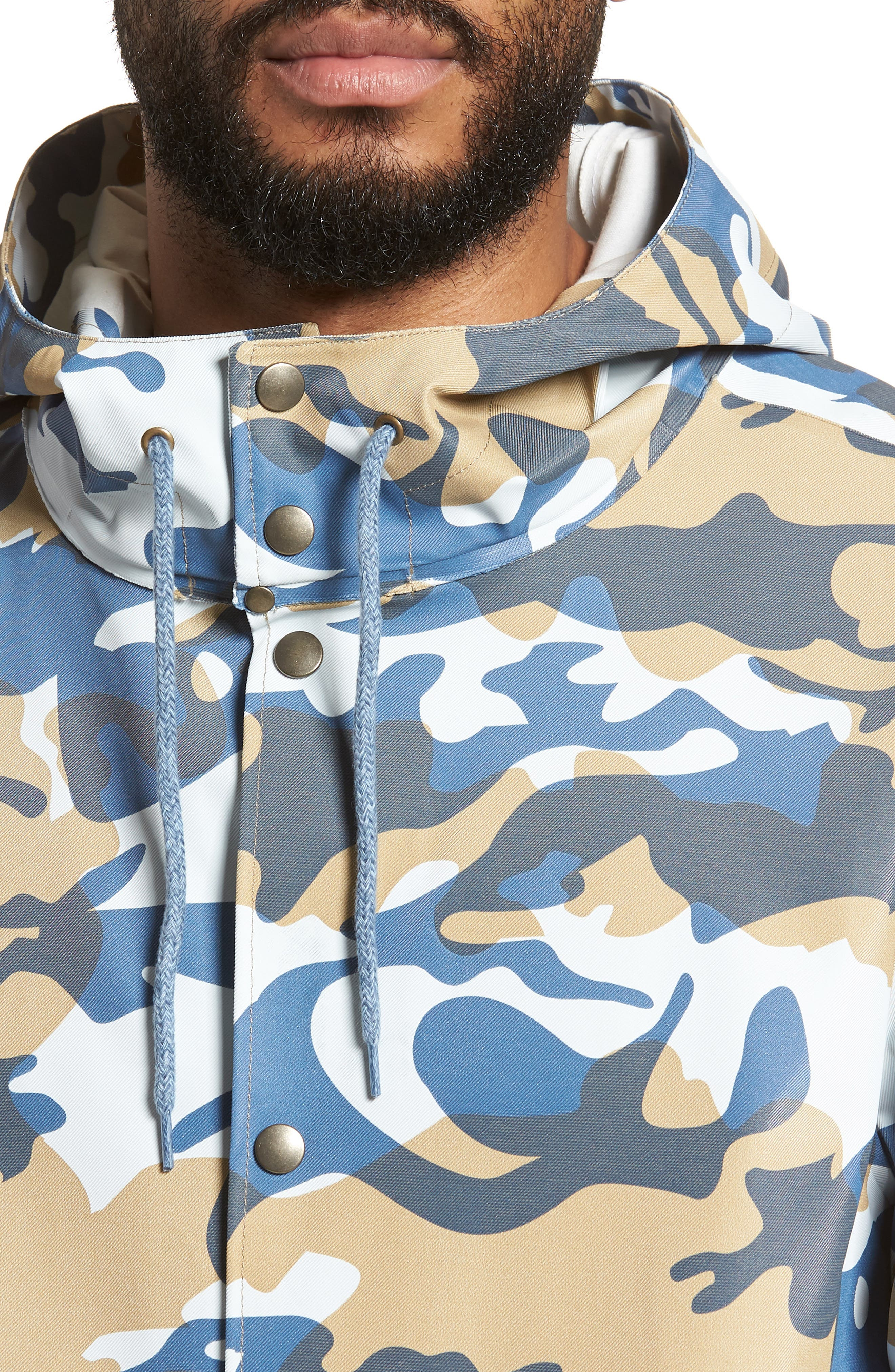 Stockholm Waterproof Hooded Raincoat,                             Alternate thumbnail 4, color,                             Camo