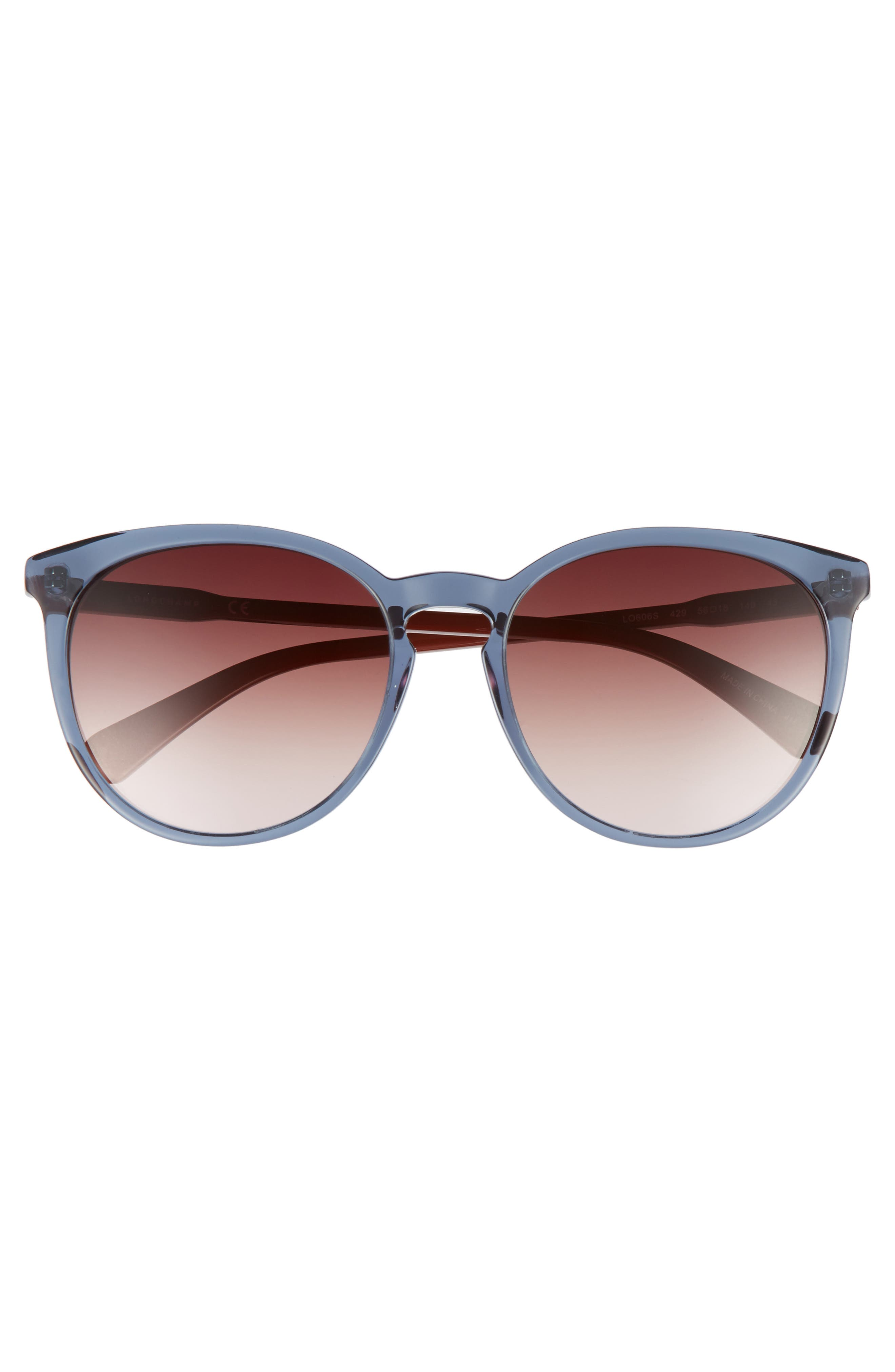56mm Round Sunglasses,                             Alternate thumbnail 3, color,                             Petrol Berry