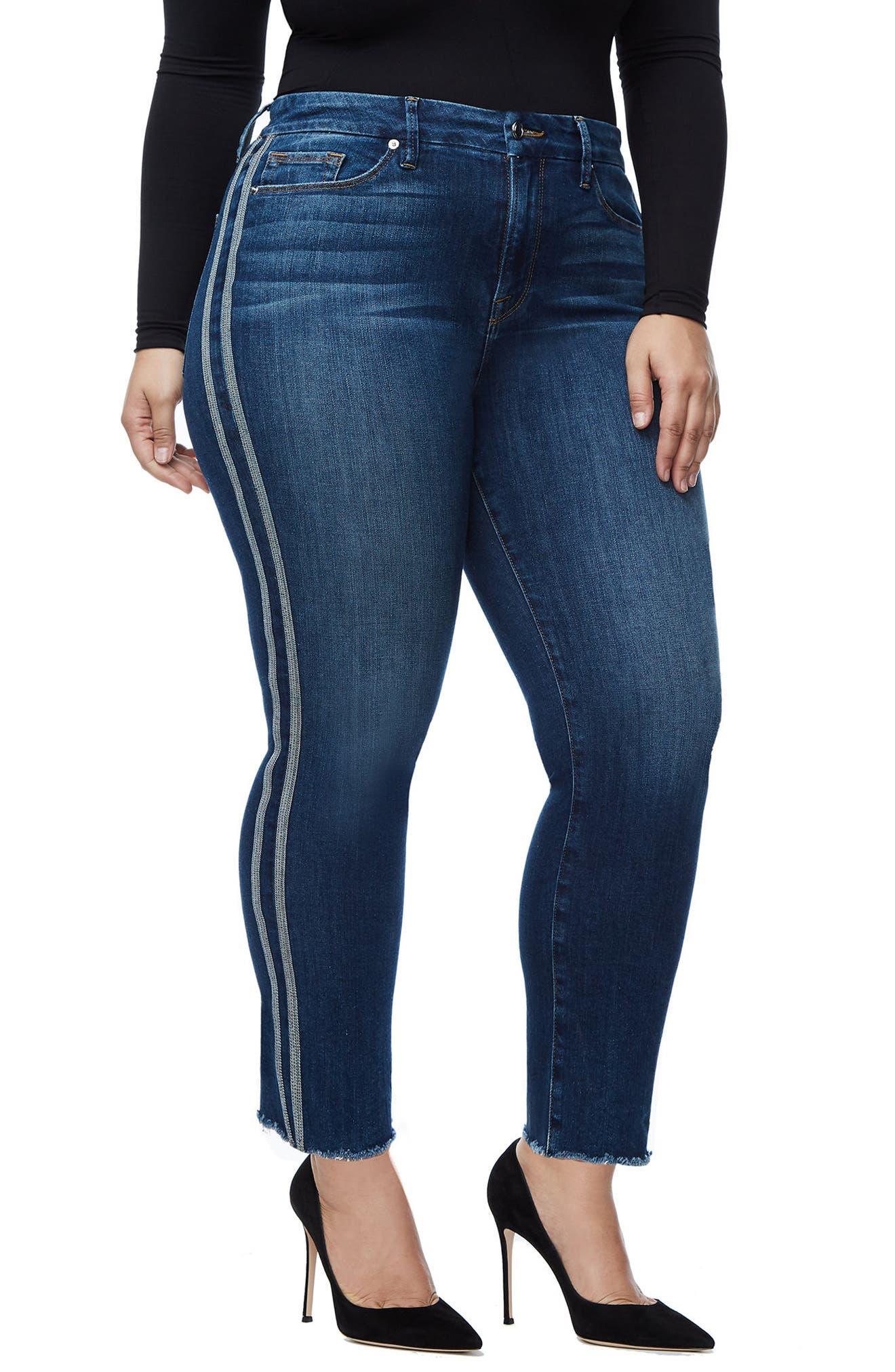 Good Straight Athletic Stripe High Waist Straight Leg Jeans,                             Alternate thumbnail 4, color,                             Blue122